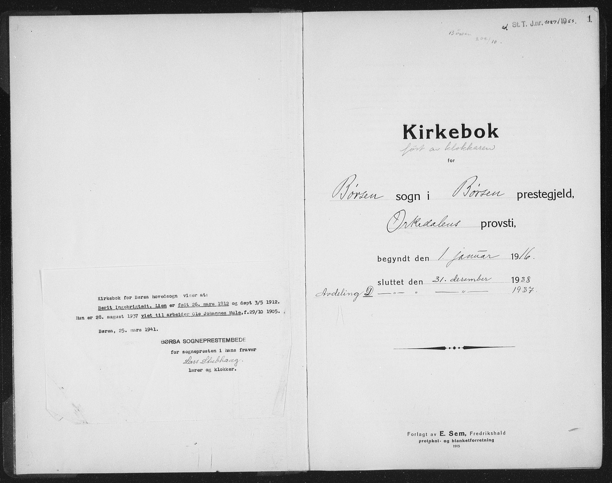 SAT, Ministerialprotokoller, klokkerbøker og fødselsregistre - Sør-Trøndelag, 665/L0778: Klokkerbok nr. 665C03, 1916-1938, s. 1