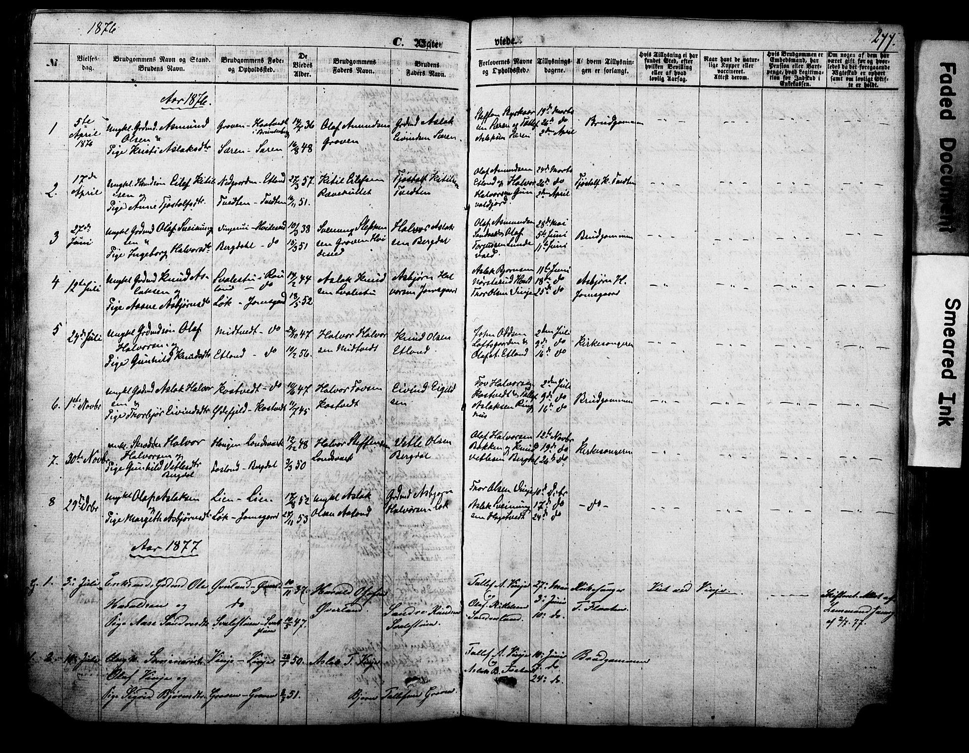 SAKO, Vinje kirkebøker, F/Fa/L0005: Ministerialbok nr. I 5, 1870-1886, s. 277