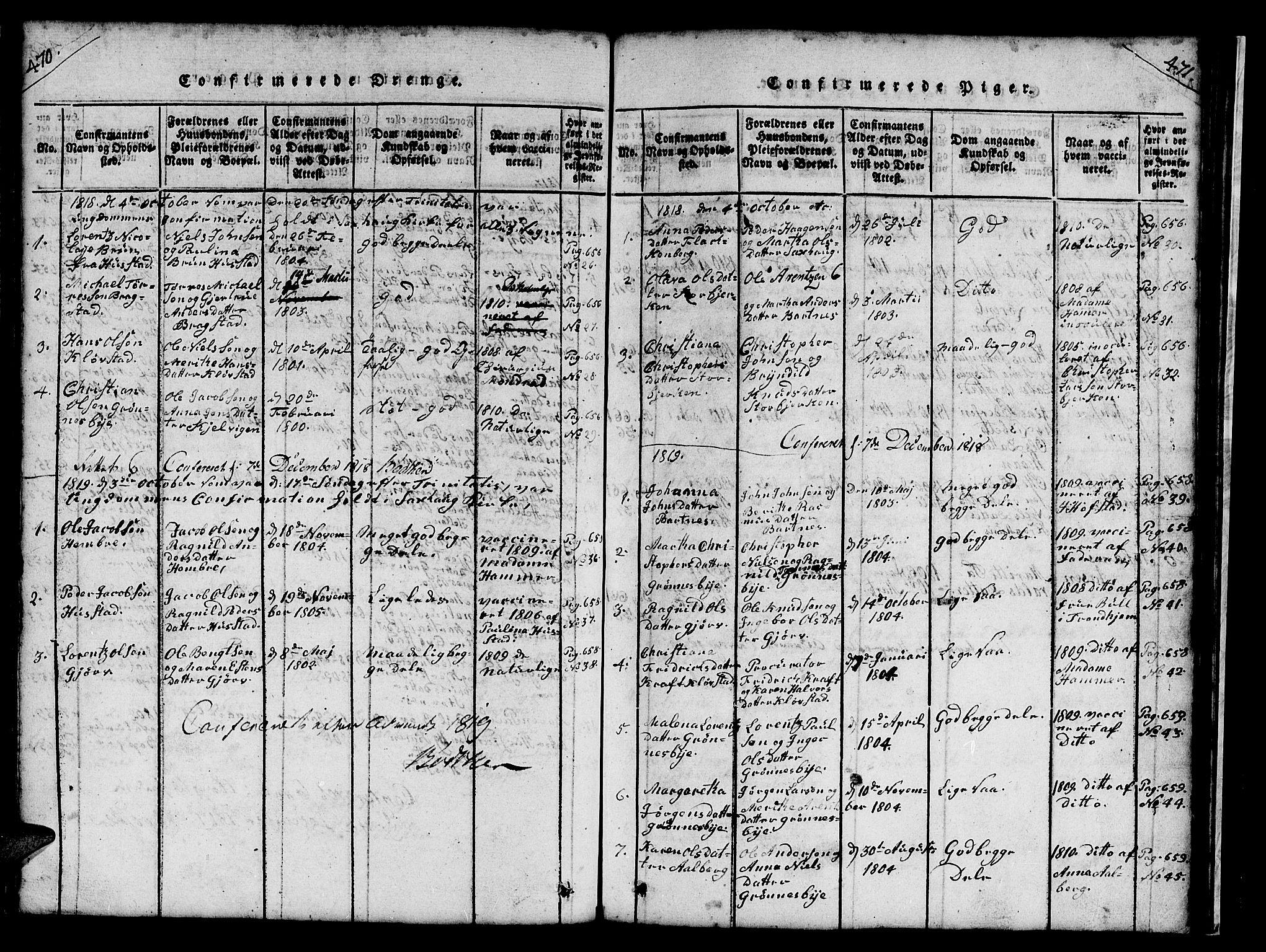 SAT, Ministerialprotokoller, klokkerbøker og fødselsregistre - Nord-Trøndelag, 732/L0317: Klokkerbok nr. 732C01, 1816-1881, s. 470-471