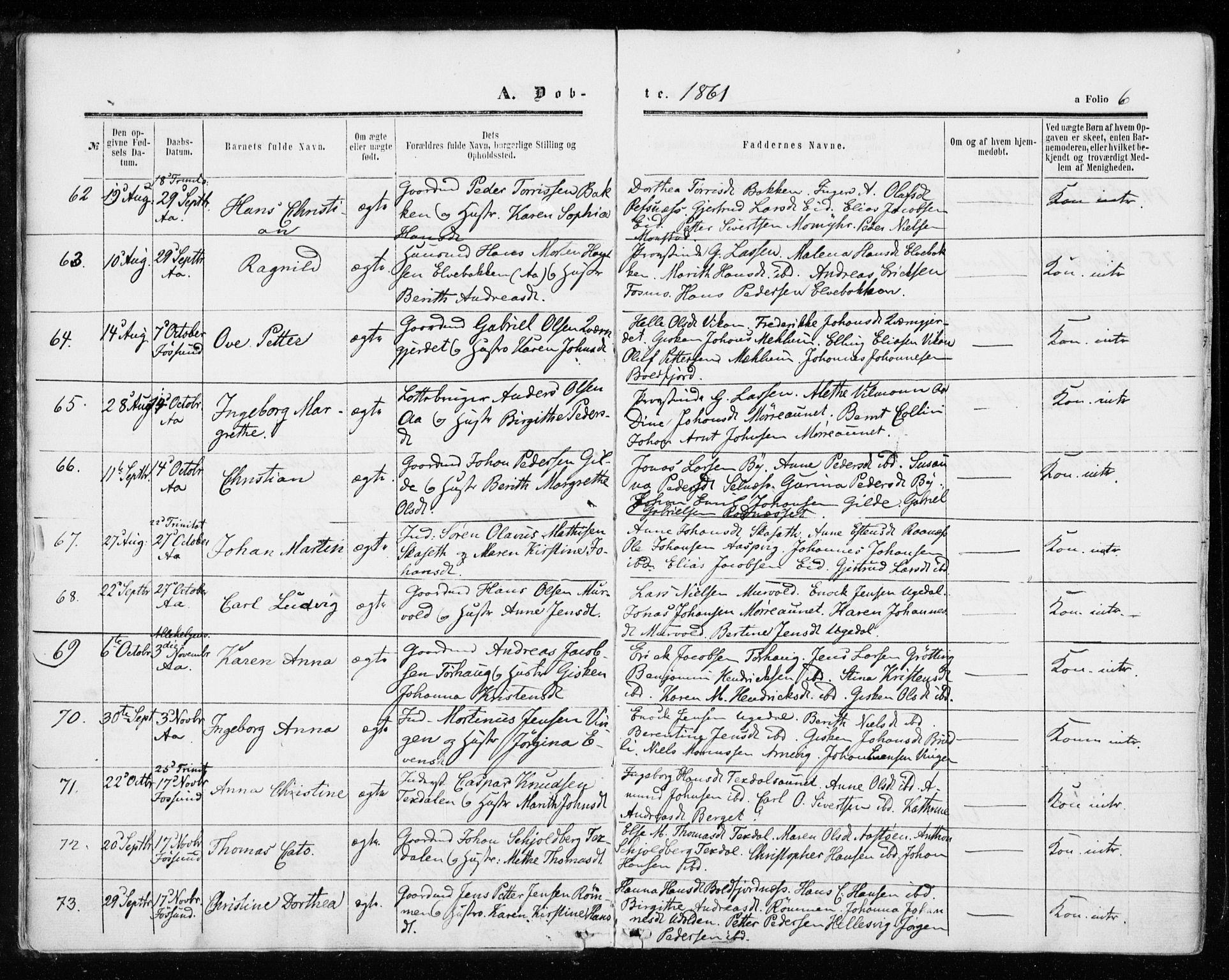 SAT, Ministerialprotokoller, klokkerbøker og fødselsregistre - Sør-Trøndelag, 655/L0678: Ministerialbok nr. 655A07, 1861-1873, s. 6