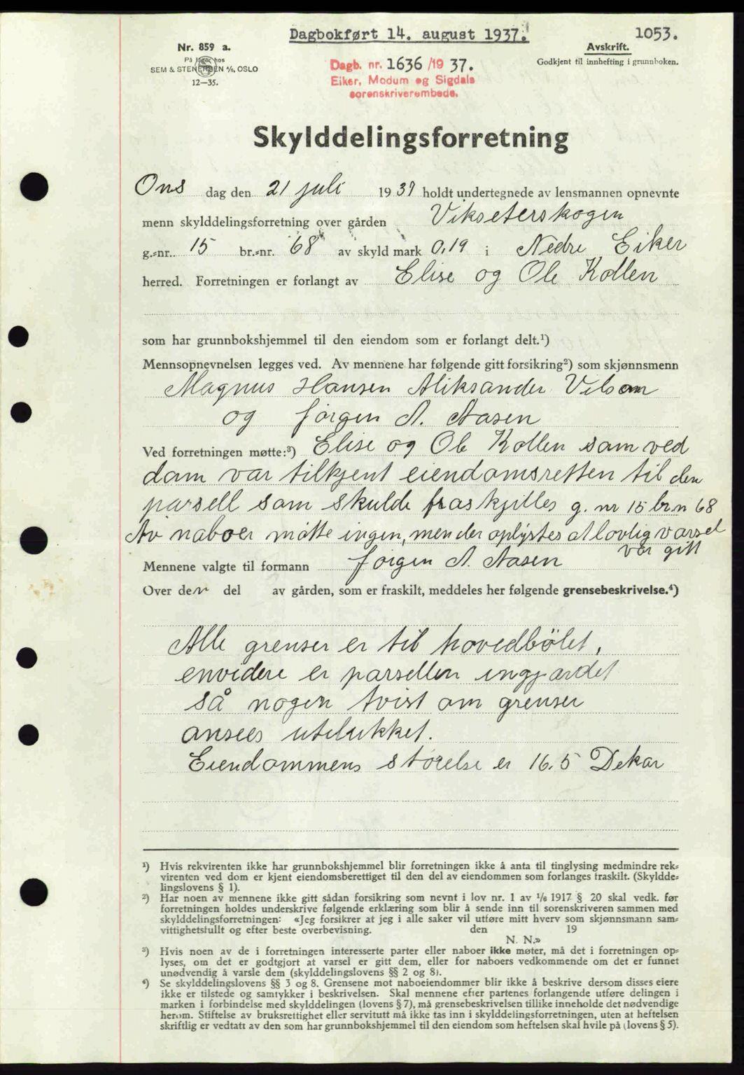 SAKO, Eiker, Modum og Sigdal sorenskriveri, G/Ga/Gab/L0035: Pantebok nr. A5, 1937-1937, Dagboknr: 1636/1937