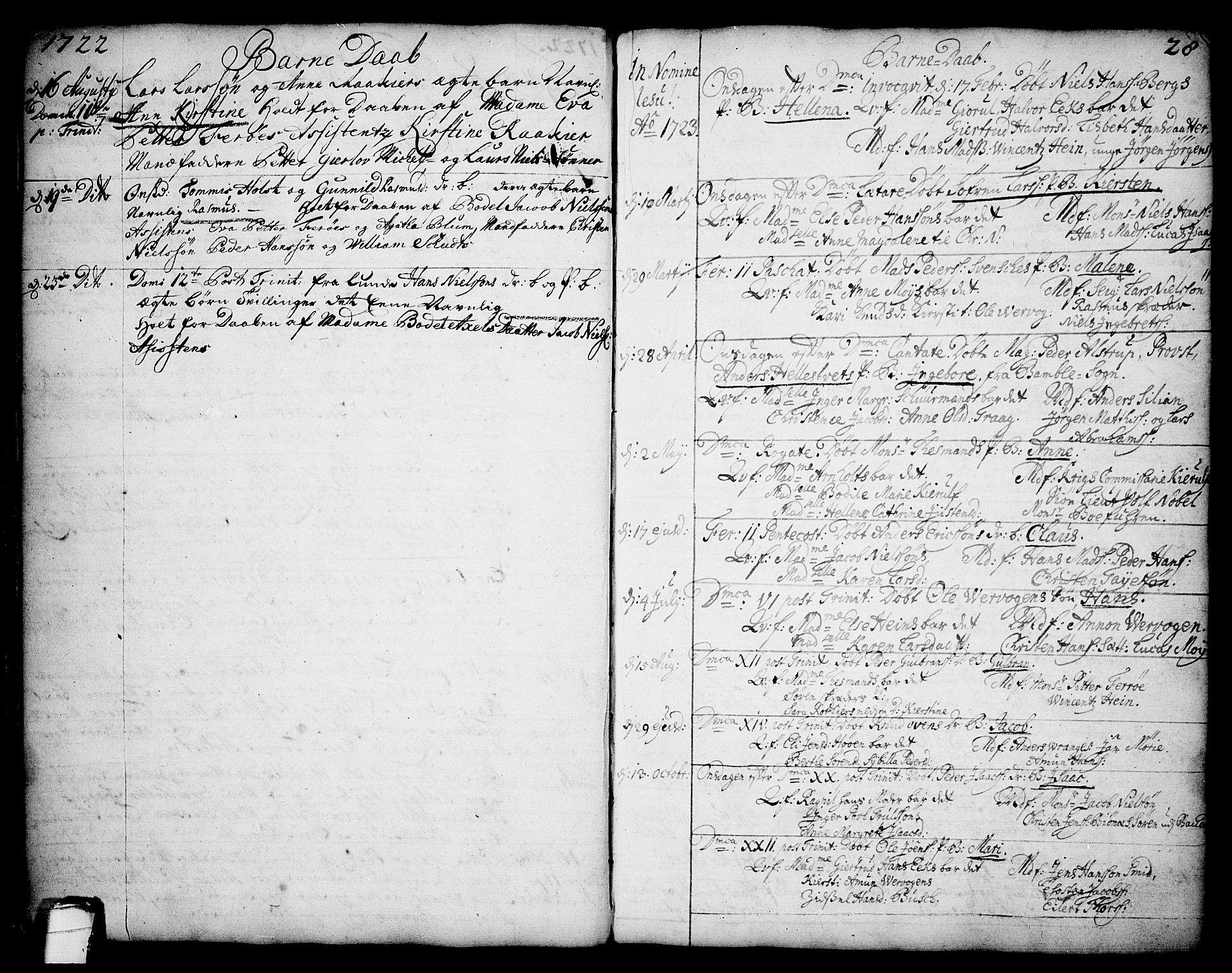 SAKO, Brevik kirkebøker, F/Fa/L0002: Ministerialbok nr. 2, 1720-1764, s. 28
