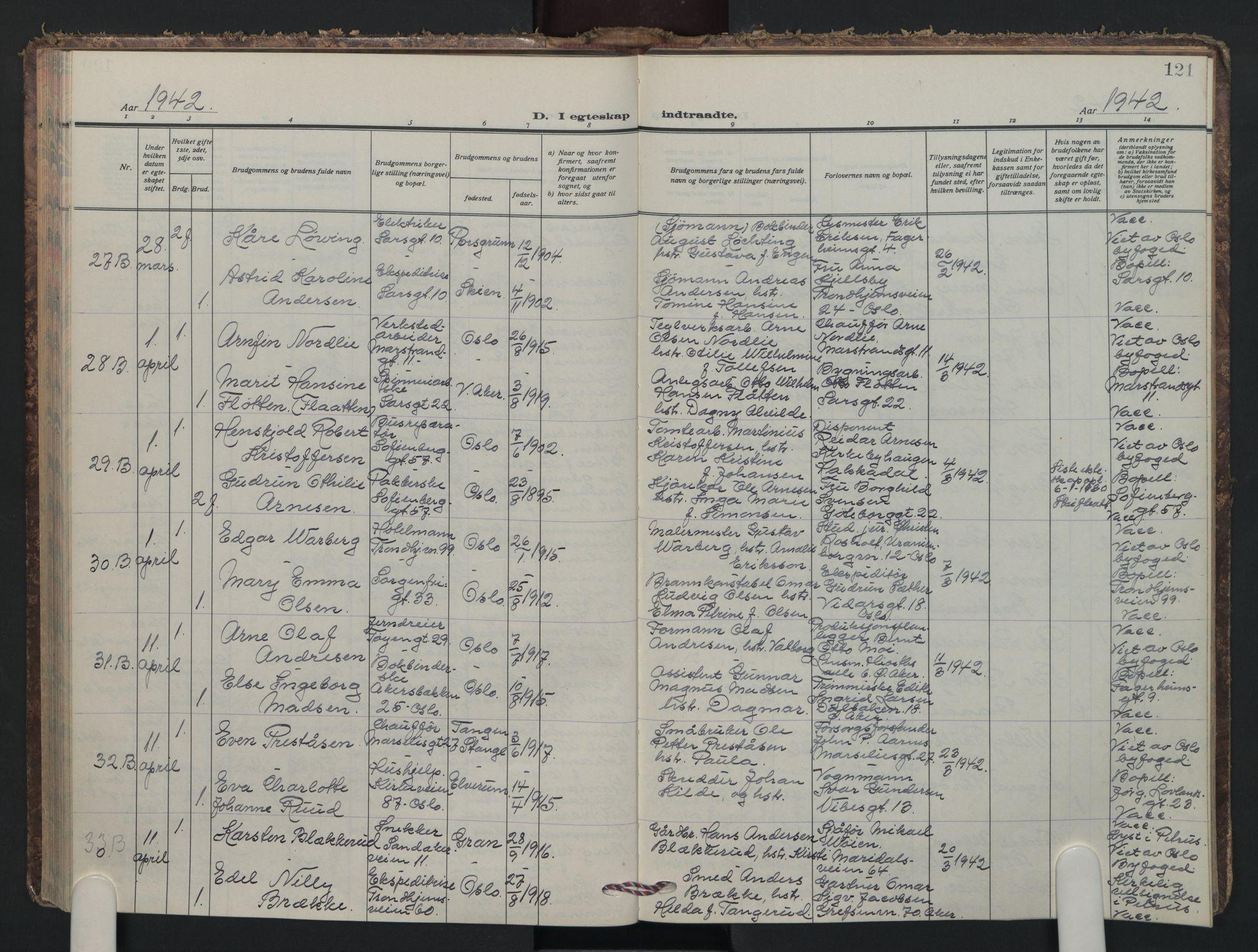 SAO, Petrus prestekontor Kirkebøker, F/Fa/L0018: Ministerialbok nr. 18, 1936-1944, s. 121