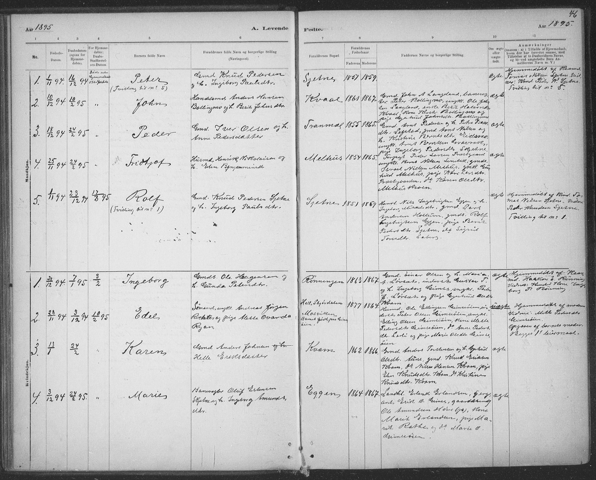 SAT, Ministerialprotokoller, klokkerbøker og fødselsregistre - Sør-Trøndelag, 691/L1085: Ministerialbok nr. 691A17, 1887-1908, s. 46