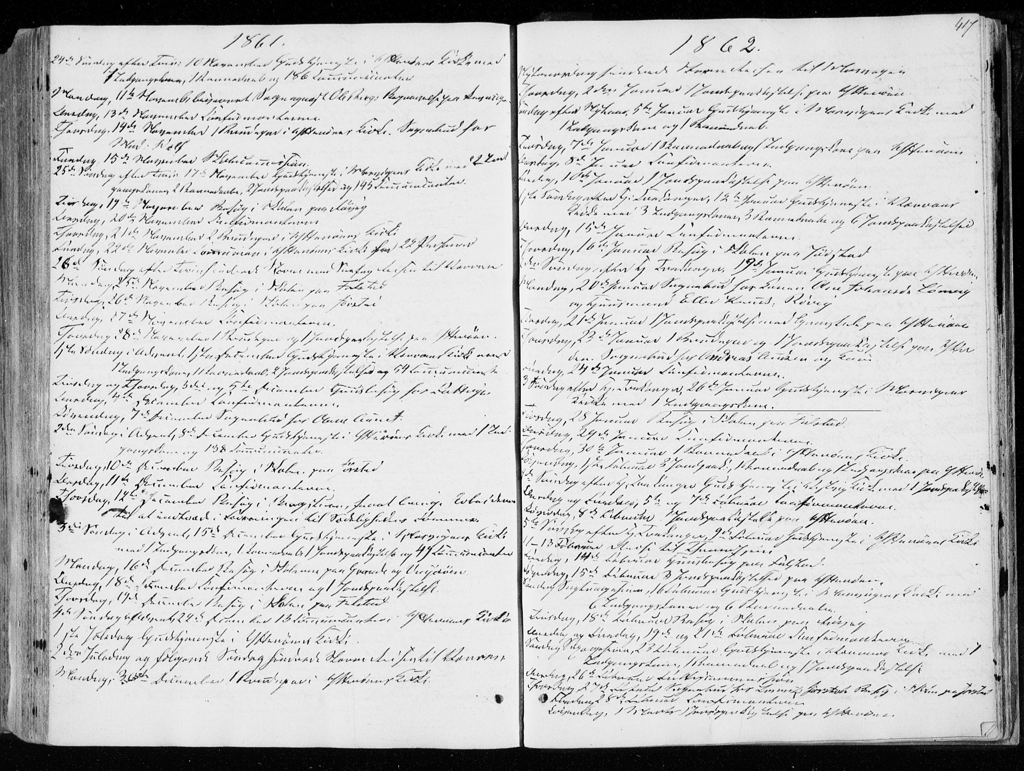 SAT, Ministerialprotokoller, klokkerbøker og fødselsregistre - Nord-Trøndelag, 722/L0218: Ministerialbok nr. 722A05, 1843-1868, s. 417