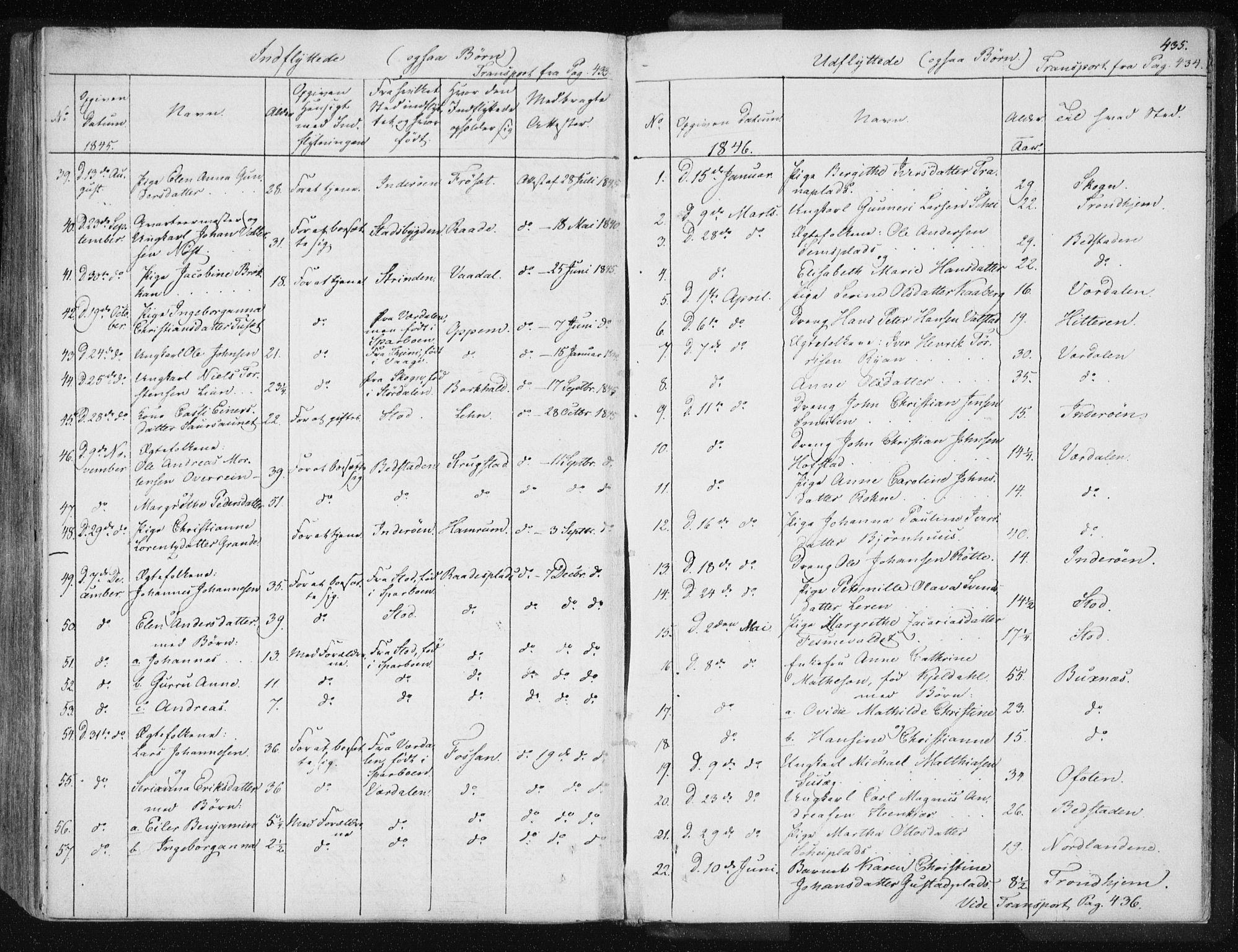 SAT, Ministerialprotokoller, klokkerbøker og fødselsregistre - Nord-Trøndelag, 735/L0339: Ministerialbok nr. 735A06 /1, 1836-1848, s. 435