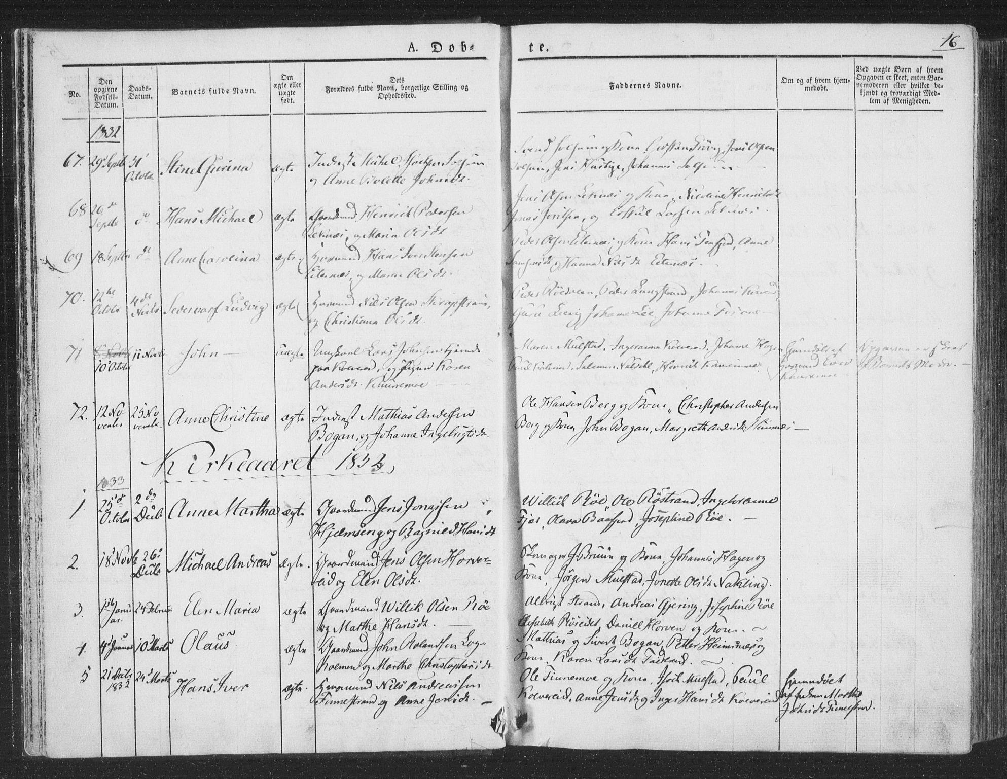 SAT, Ministerialprotokoller, klokkerbøker og fødselsregistre - Nord-Trøndelag, 780/L0639: Ministerialbok nr. 780A04, 1830-1844, s. 16