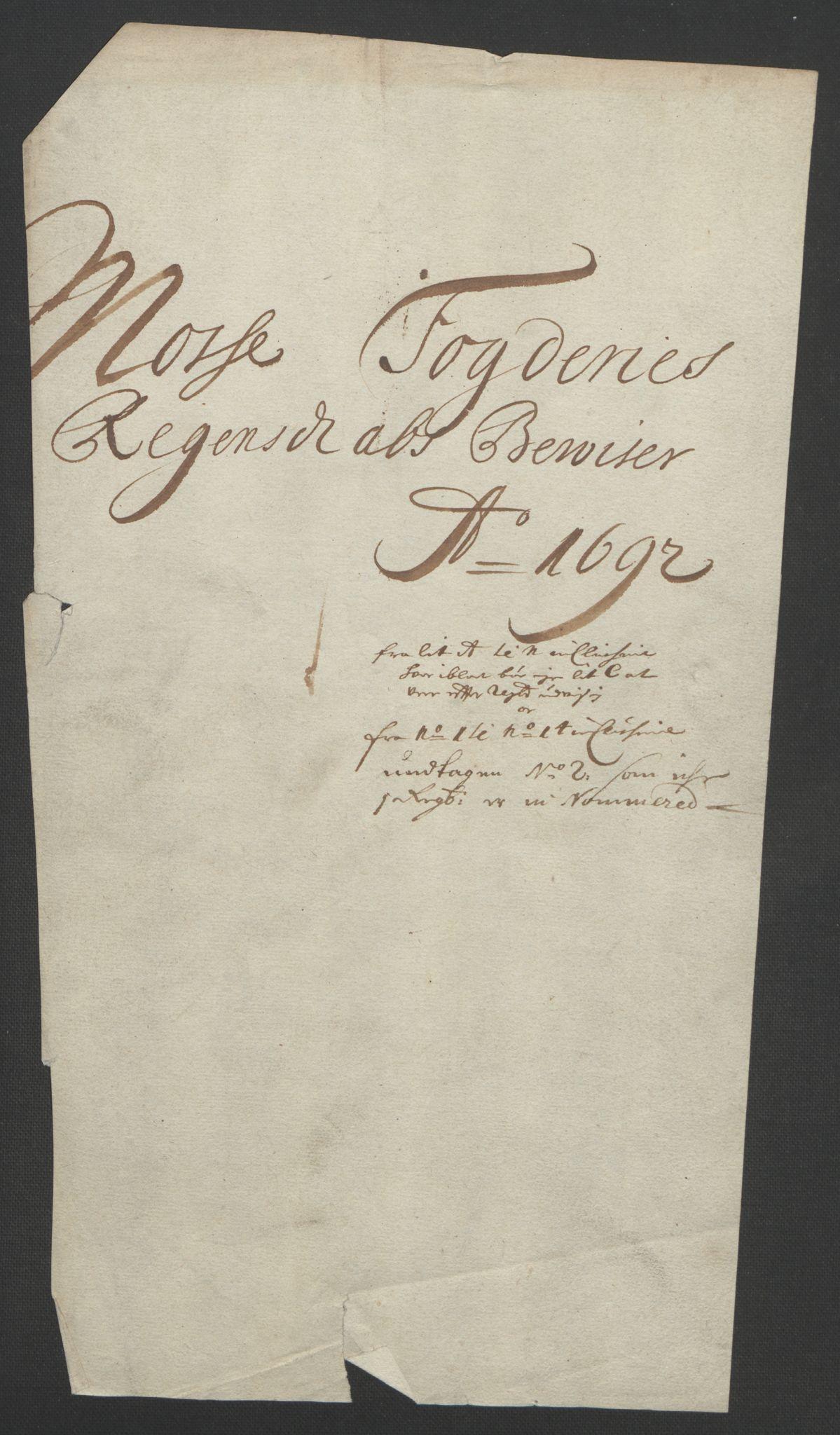 RA, Rentekammeret inntil 1814, Reviderte regnskaper, Fogderegnskap, R02/L0108: Fogderegnskap Moss og Verne kloster, 1692-1693, s. 163