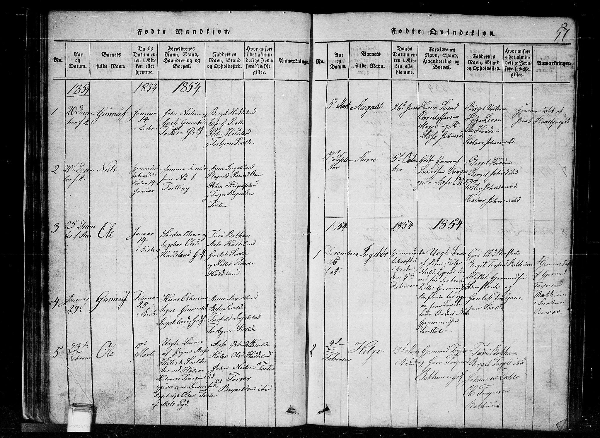 SAKO, Tinn kirkebøker, G/Gc/L0001: Klokkerbok nr. III 1, 1815-1879, s. 57