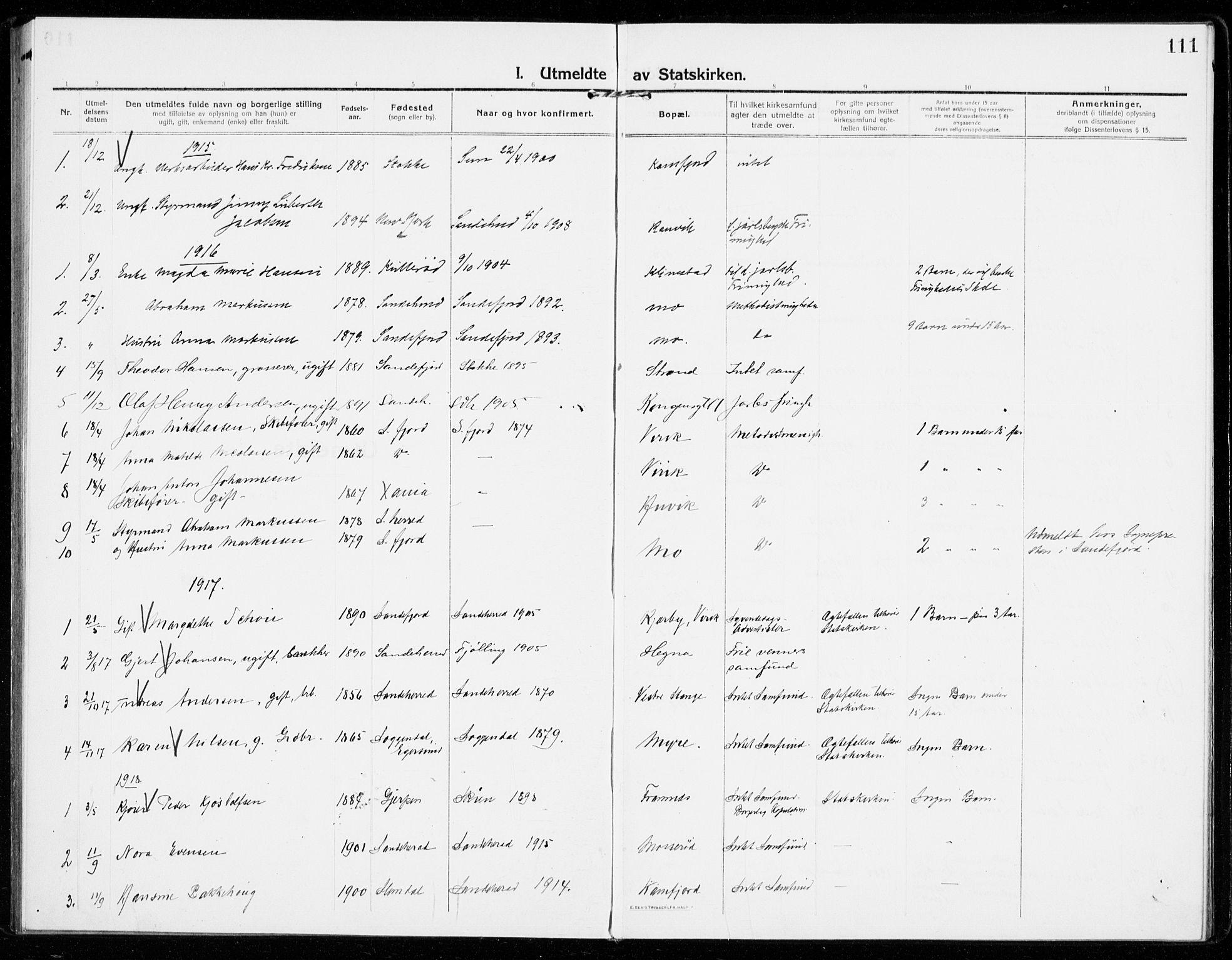 SAKO, Sandar kirkebøker, F/Fa/L0020: Ministerialbok nr. 20, 1915-1919, s. 111