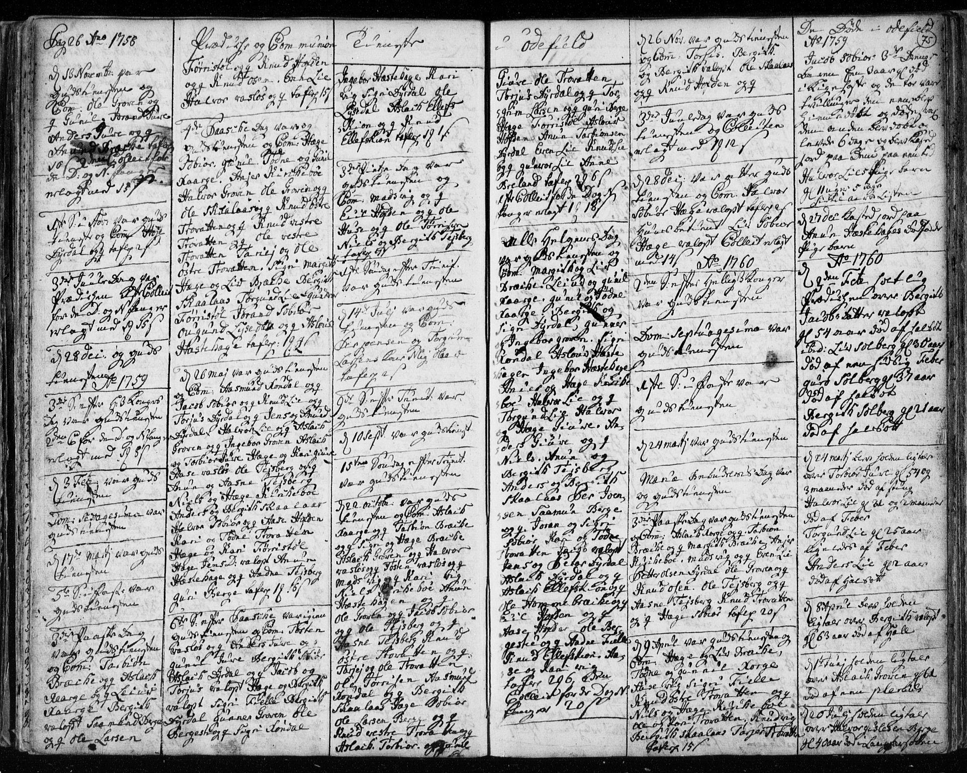 SAKO, Lårdal kirkebøker, F/Fa/L0003: Ministerialbok nr. I 3, 1754-1790, s. 75