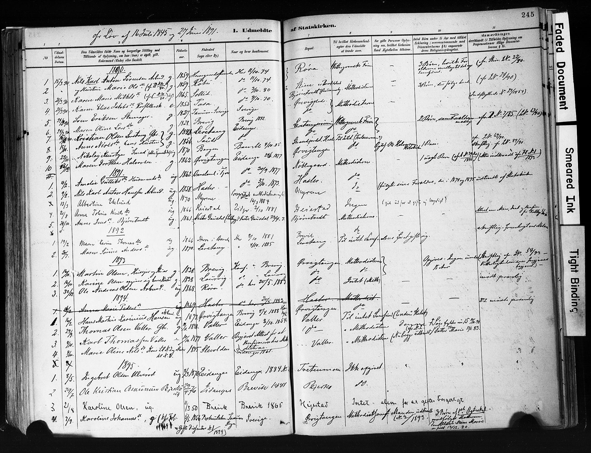SAKO, Eidanger kirkebøker, F/Fa/L0012: Ministerialbok nr. 12, 1879-1900, s. 245