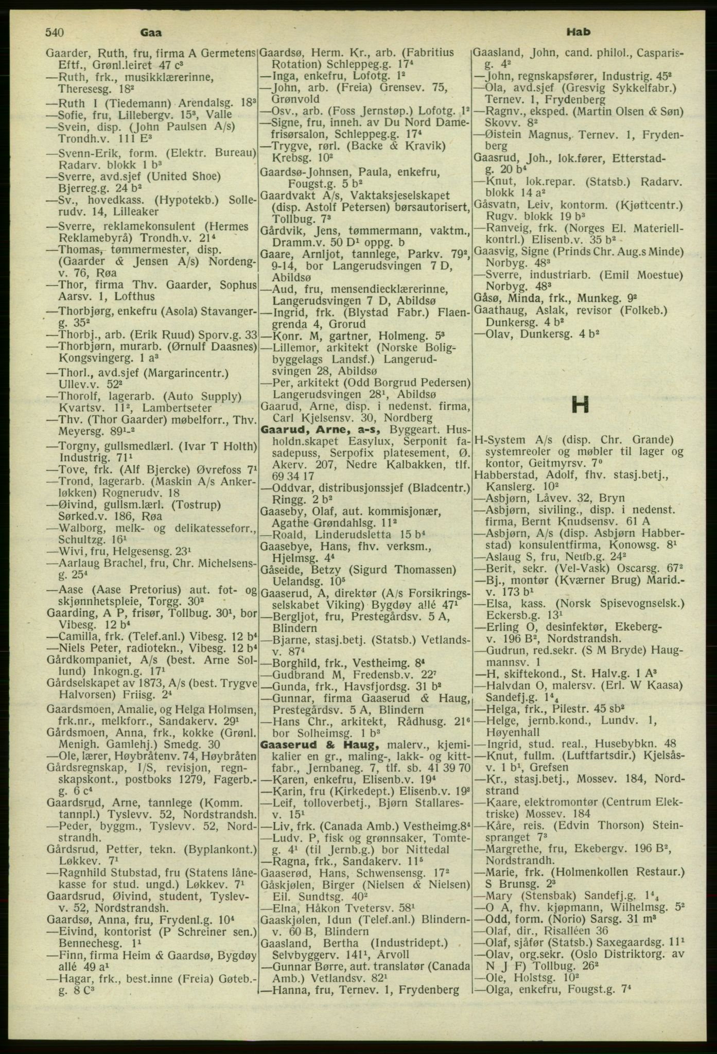 PUBL, Kristiania/Oslo adressebok, 1958-1959, s. 540