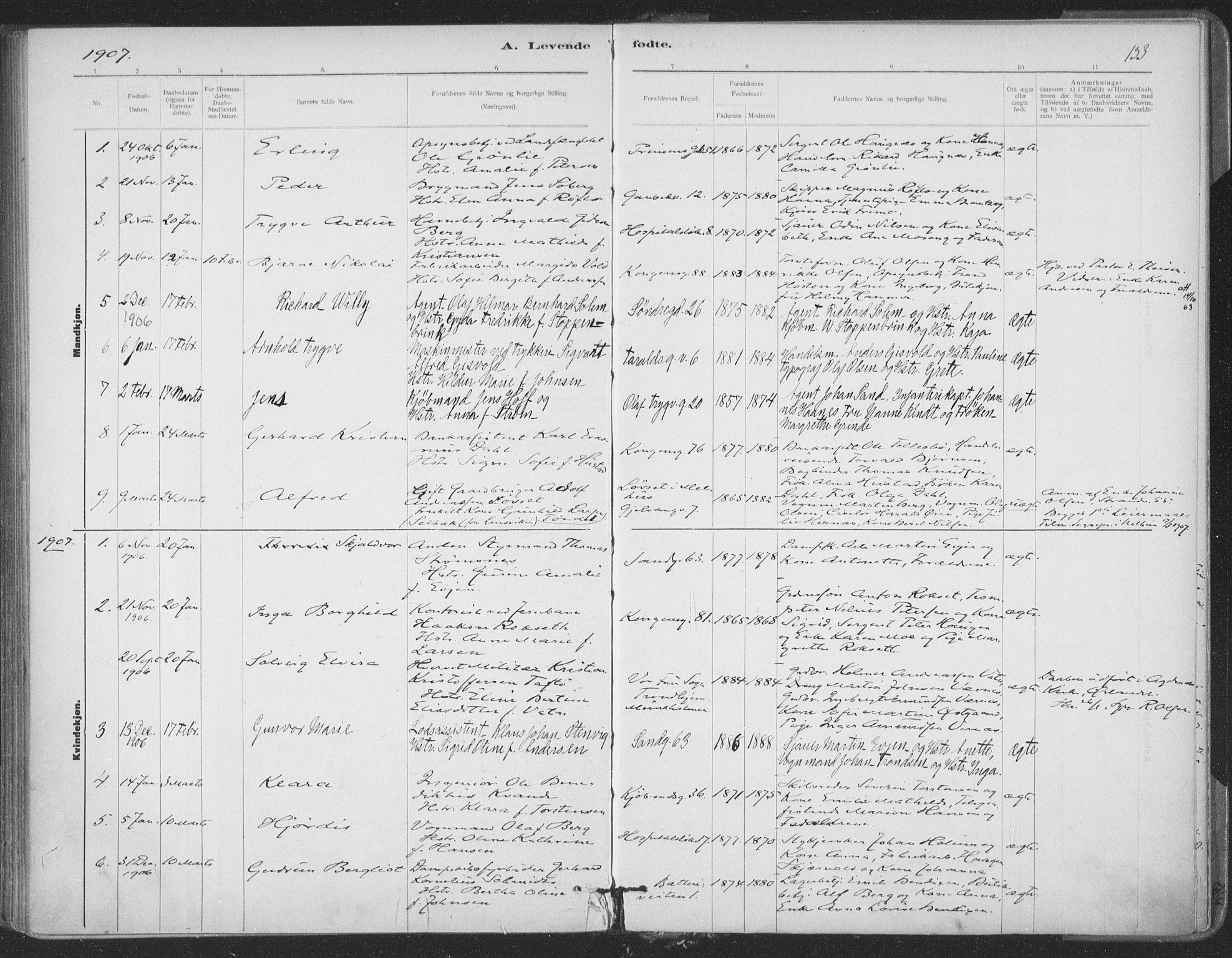 SAT, Ministerialprotokoller, klokkerbøker og fødselsregistre - Sør-Trøndelag, 602/L0122: Ministerialbok nr. 602A20, 1892-1908, s. 133