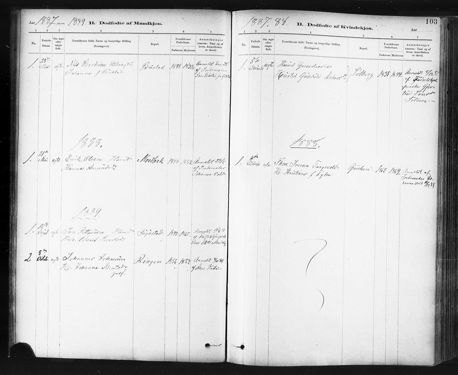 SAT, Ministerialprotokoller, klokkerbøker og fødselsregistre - Sør-Trøndelag, 672/L0857: Ministerialbok nr. 672A09, 1882-1893, s. 103
