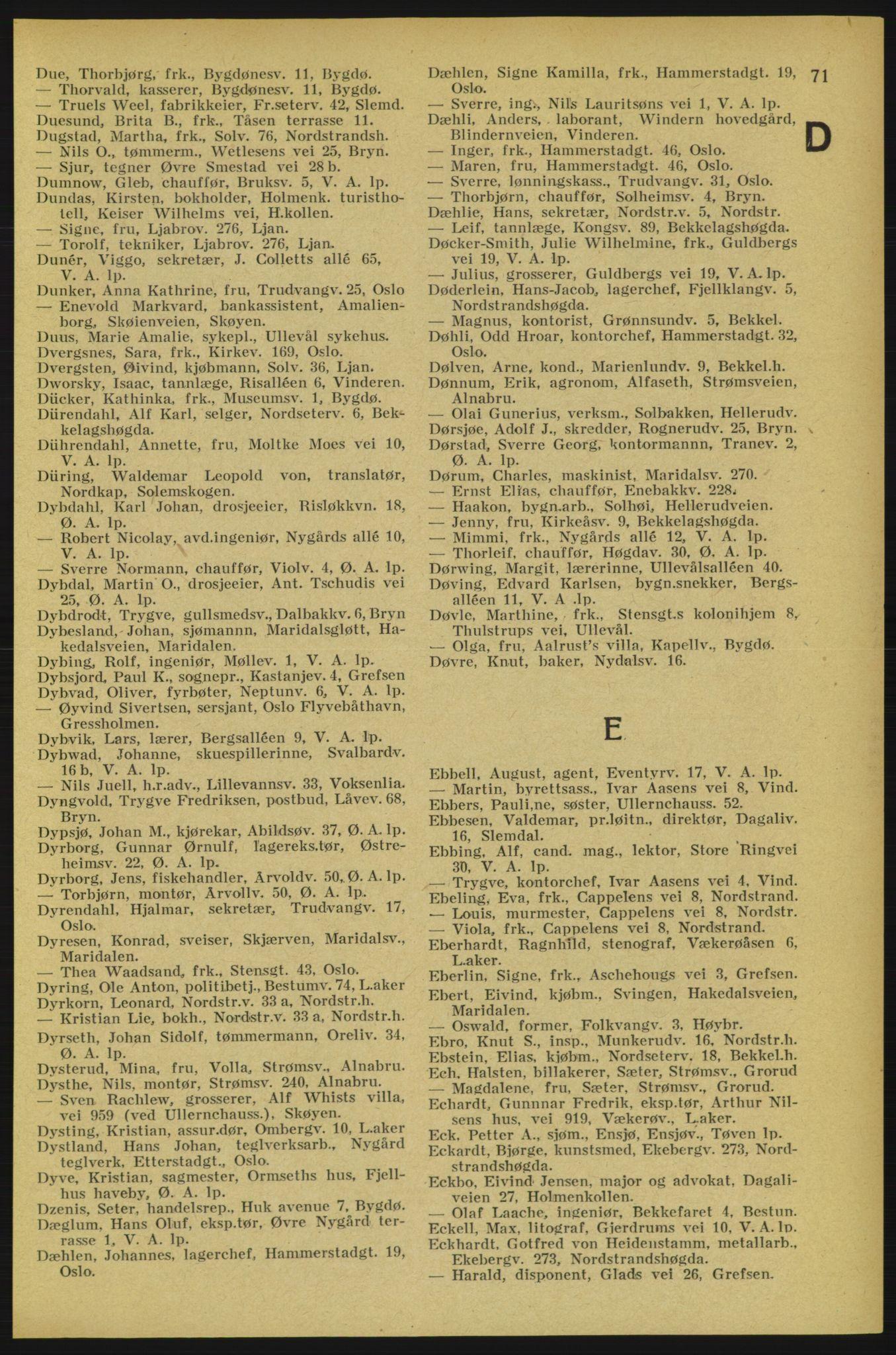 RA, Aker adressebok/adressekalender (publikasjon)*, 1934-1935, s. 71
