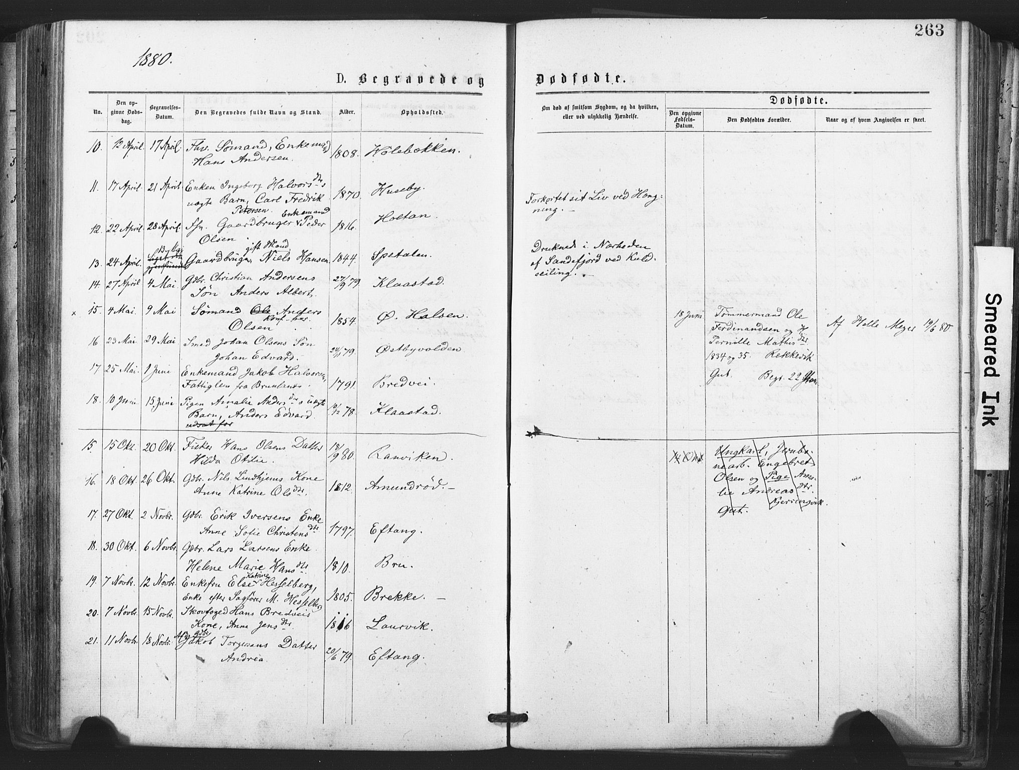 SAKO, Tjølling kirkebøker, F/Fa/L0008: Ministerialbok nr. 8, 1877-1886, s. 263