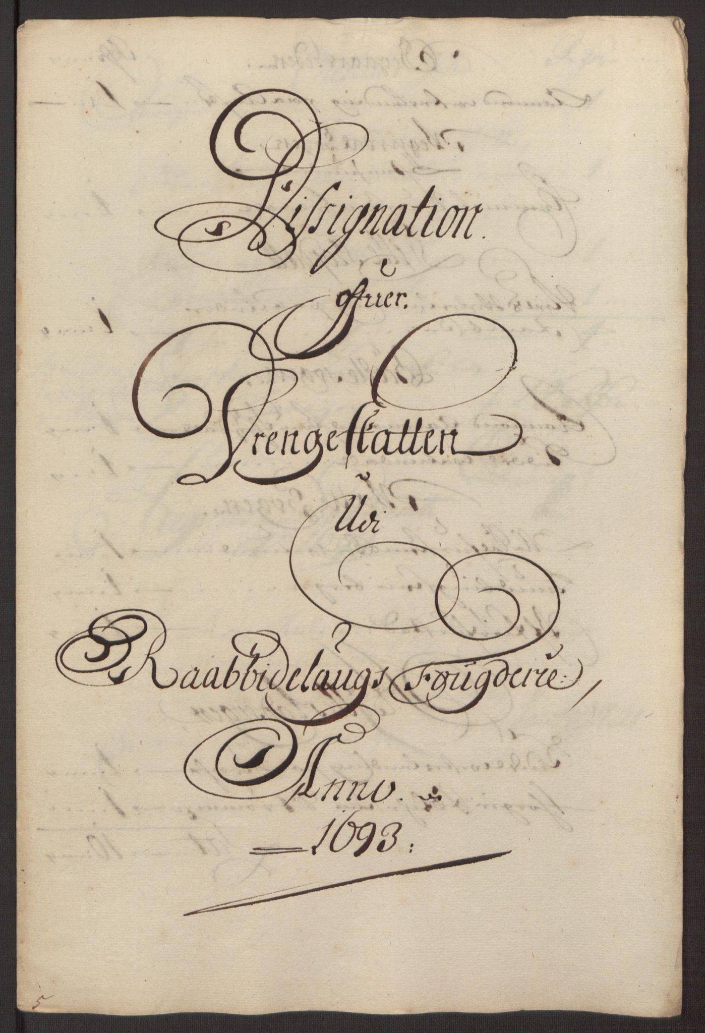 RA, Rentekammeret inntil 1814, Reviderte regnskaper, Fogderegnskap, R40/L2444: Fogderegnskap Råbyggelag, 1693-1696, s. 35