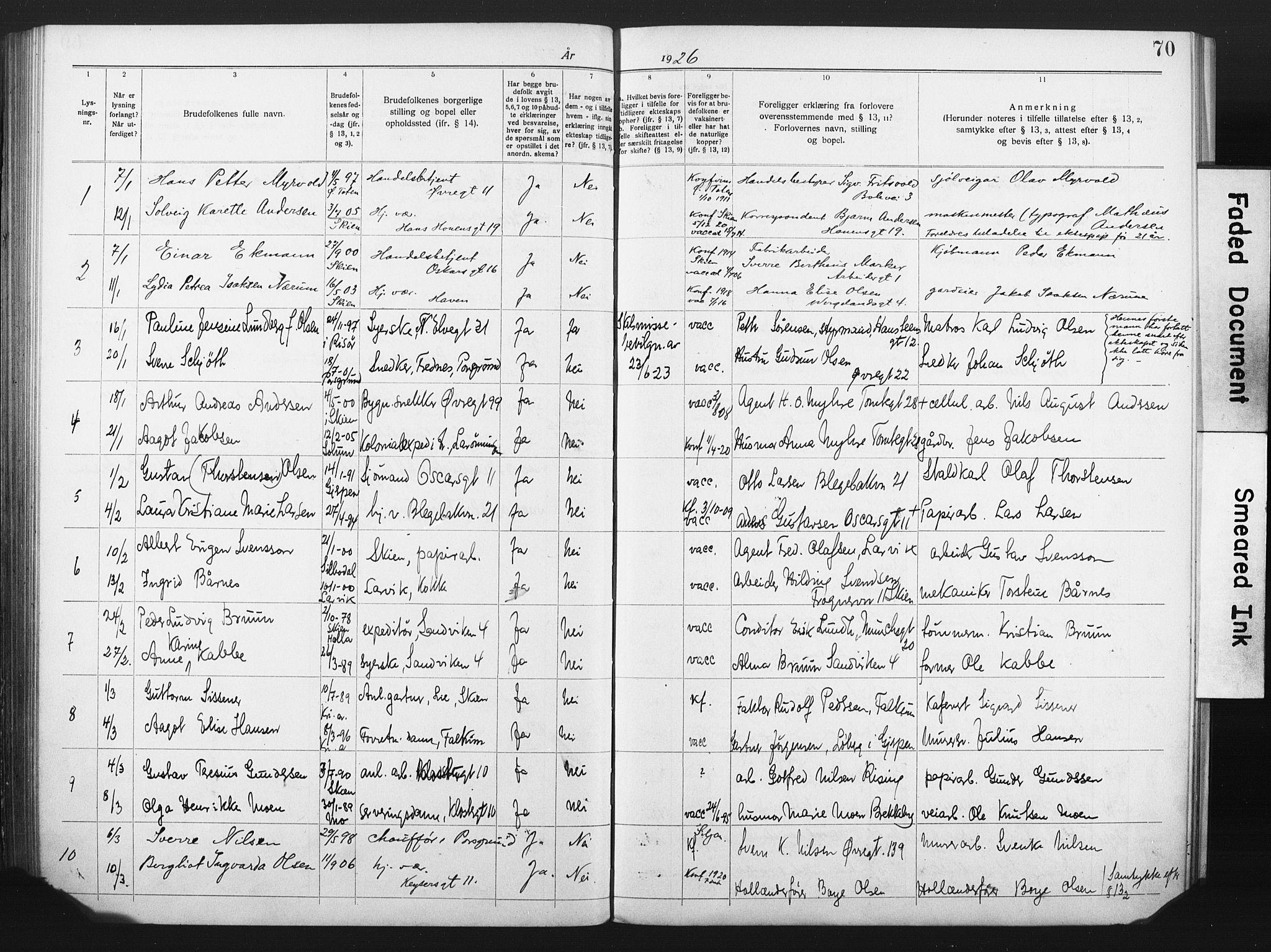 SAKO, Skien kirkebøker, H/Ha/L0001: Lysningsprotokoll nr. 1, 1919-1929, s. 70