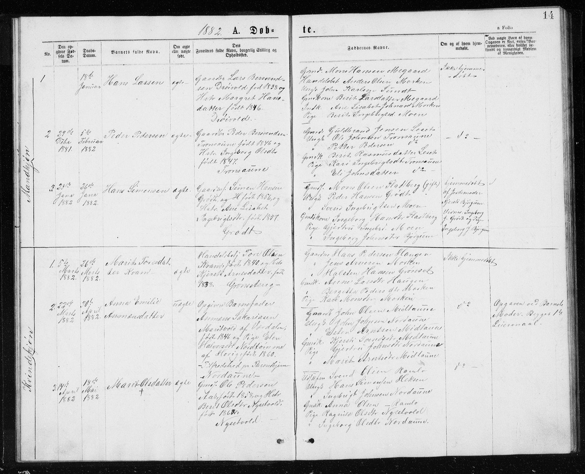 SAT, Ministerialprotokoller, klokkerbøker og fødselsregistre - Sør-Trøndelag, 685/L0977: Klokkerbok nr. 685C02, 1879-1890, s. 14