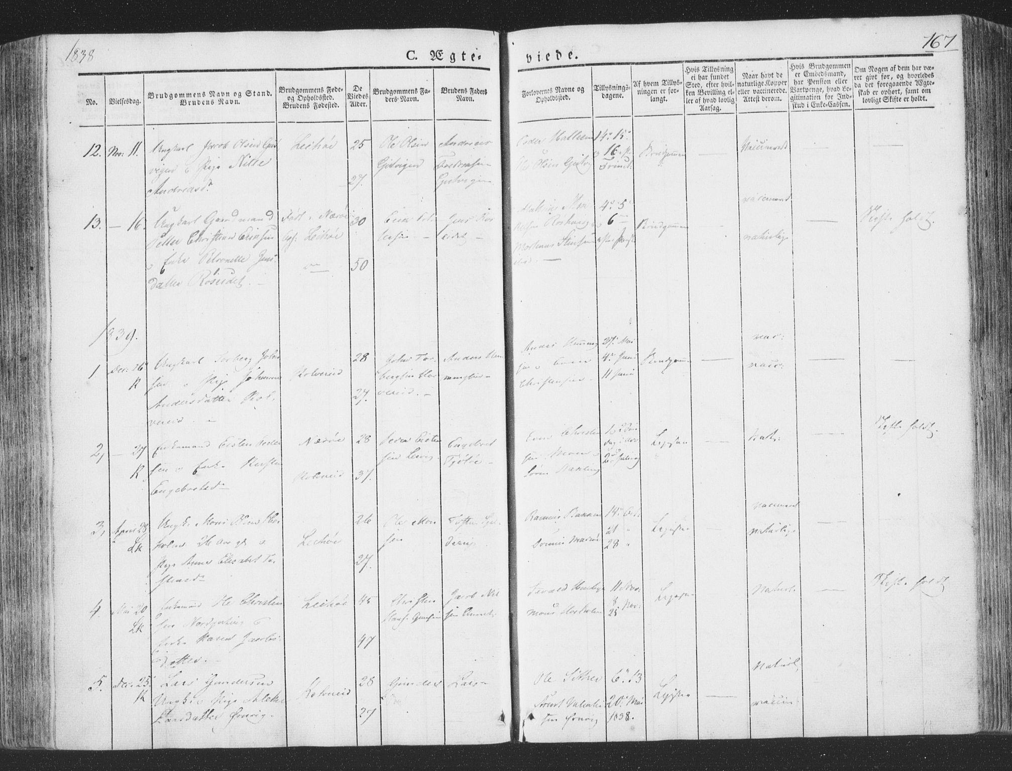 SAT, Ministerialprotokoller, klokkerbøker og fødselsregistre - Nord-Trøndelag, 780/L0639: Ministerialbok nr. 780A04, 1830-1844, s. 167