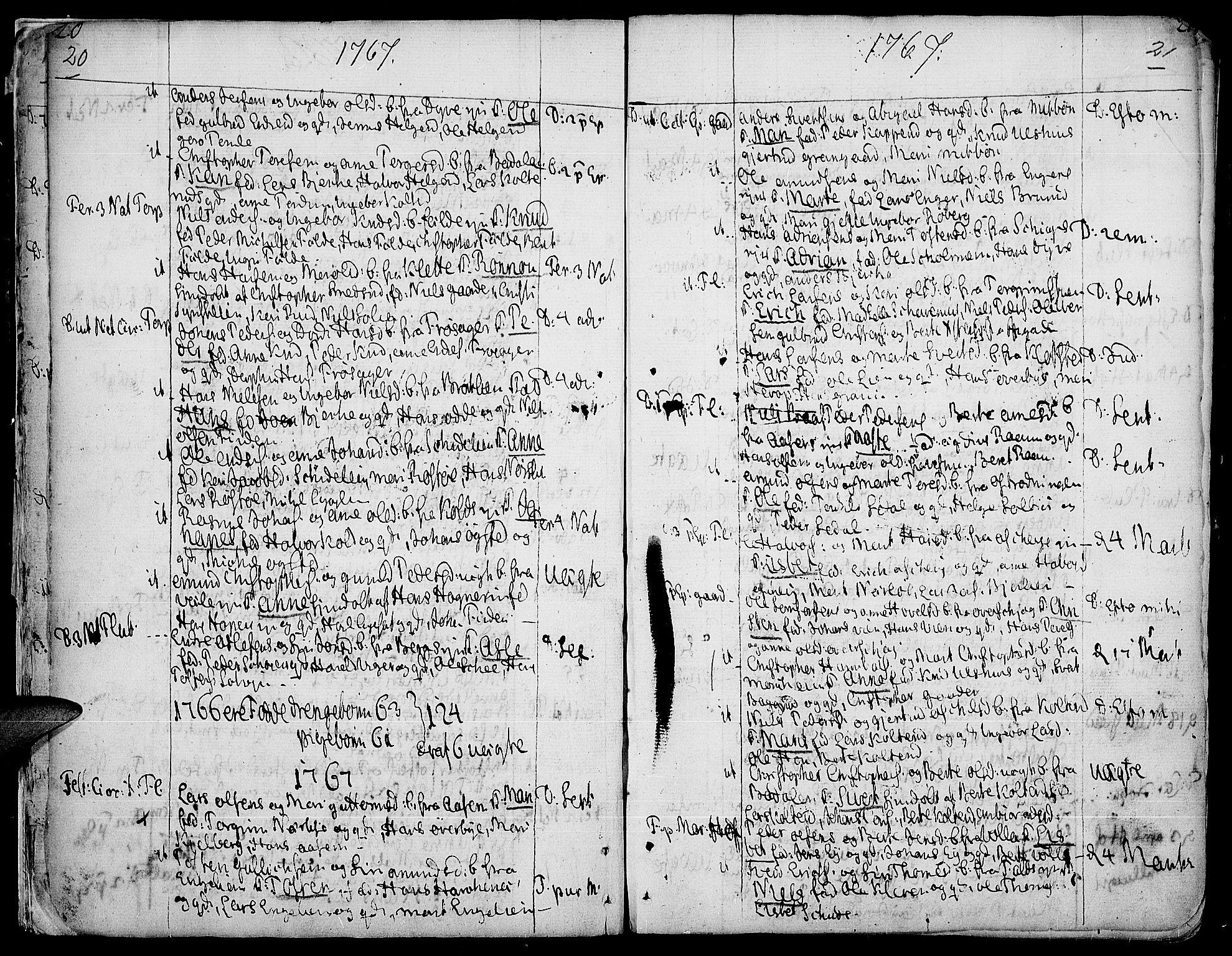 SAH, Land prestekontor, Ministerialbok nr. 5, 1765-1784, s. 20-21