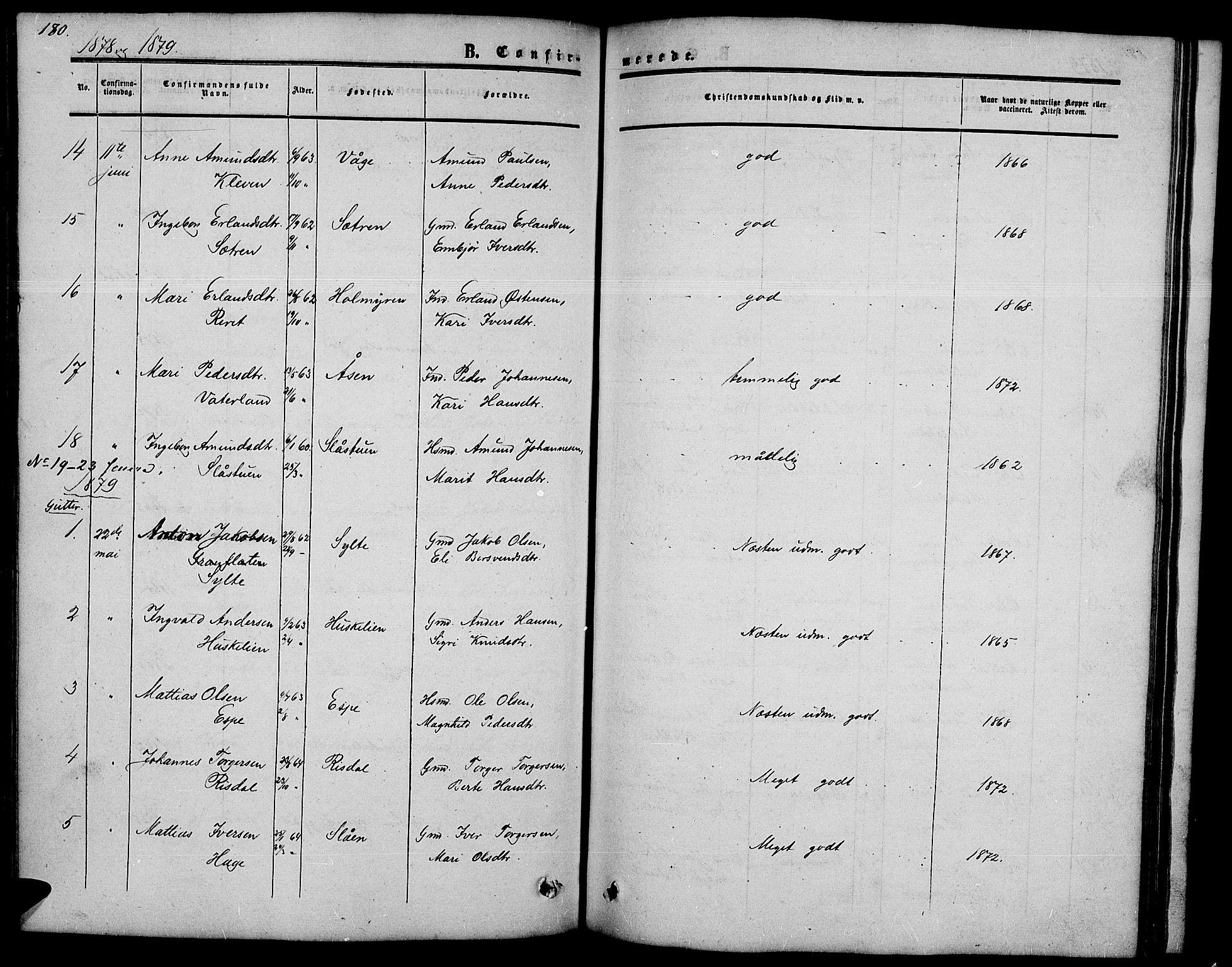 SAH, Nord-Fron prestekontor, Klokkerbok nr. 2, 1851-1883, s. 180