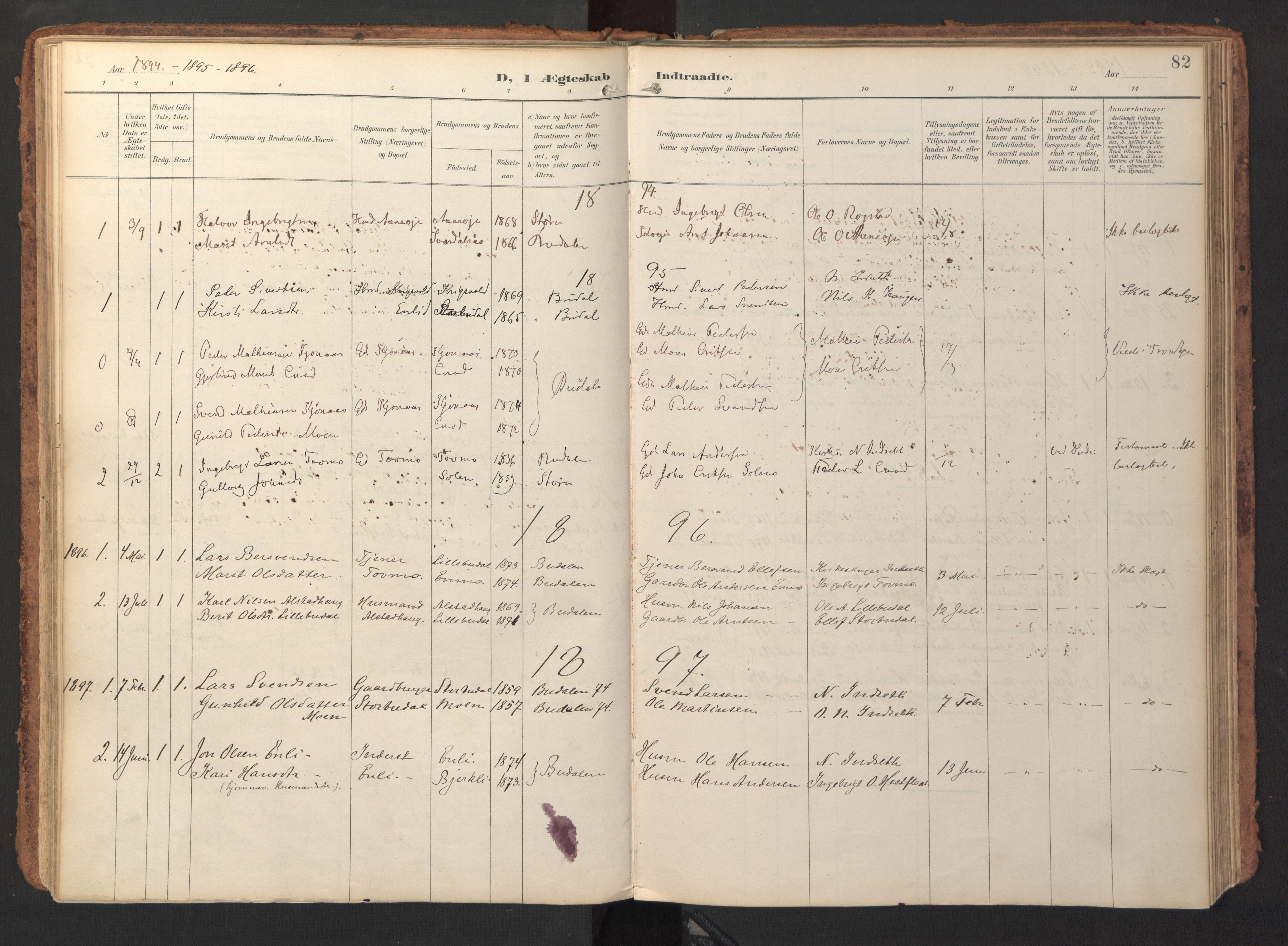 SAT, Ministerialprotokoller, klokkerbøker og fødselsregistre - Sør-Trøndelag, 690/L1050: Ministerialbok nr. 690A01, 1889-1929, s. 82