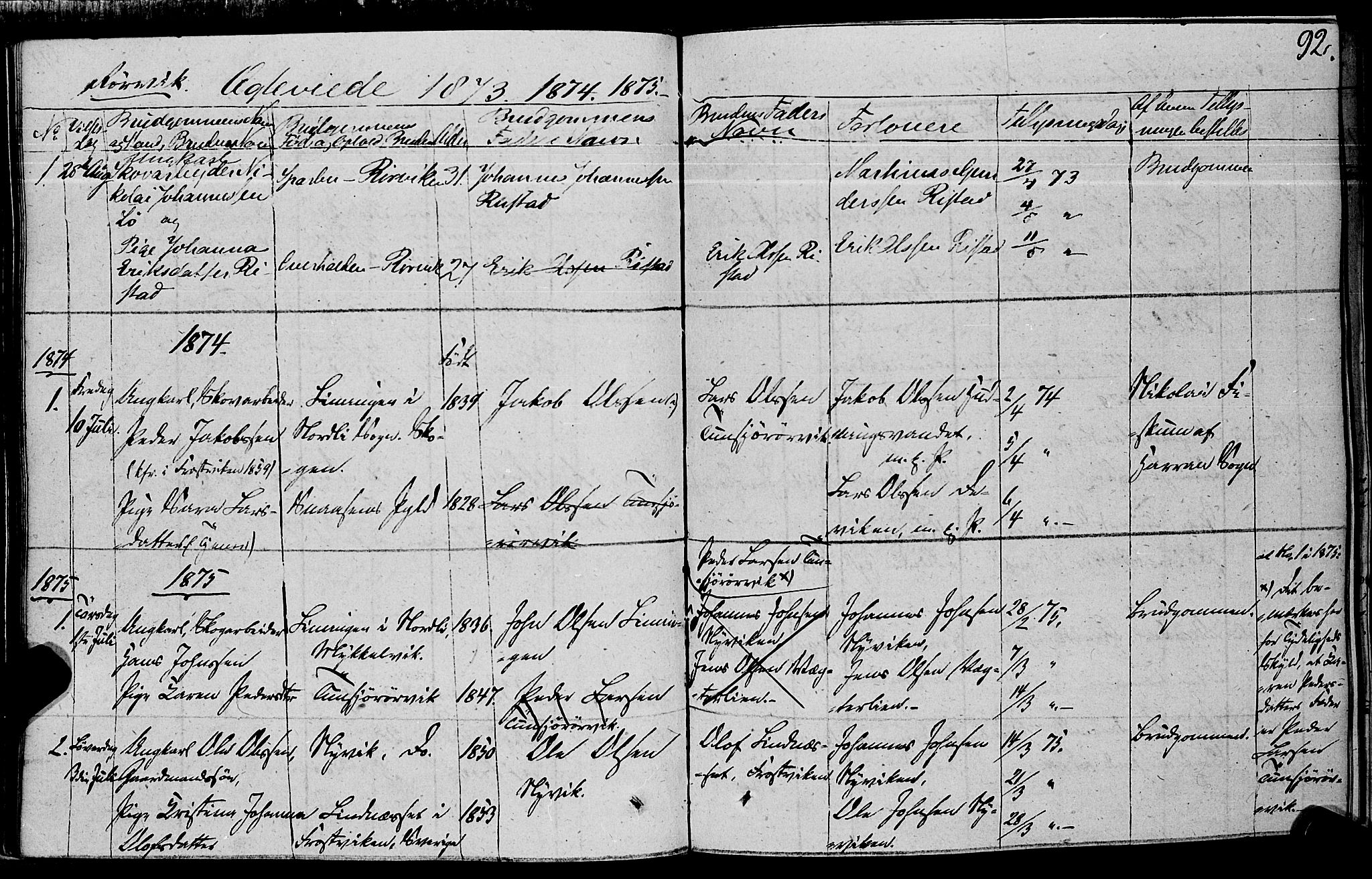 SAT, Ministerialprotokoller, klokkerbøker og fødselsregistre - Nord-Trøndelag, 762/L0538: Ministerialbok nr. 762A02 /1, 1833-1879, s. 92