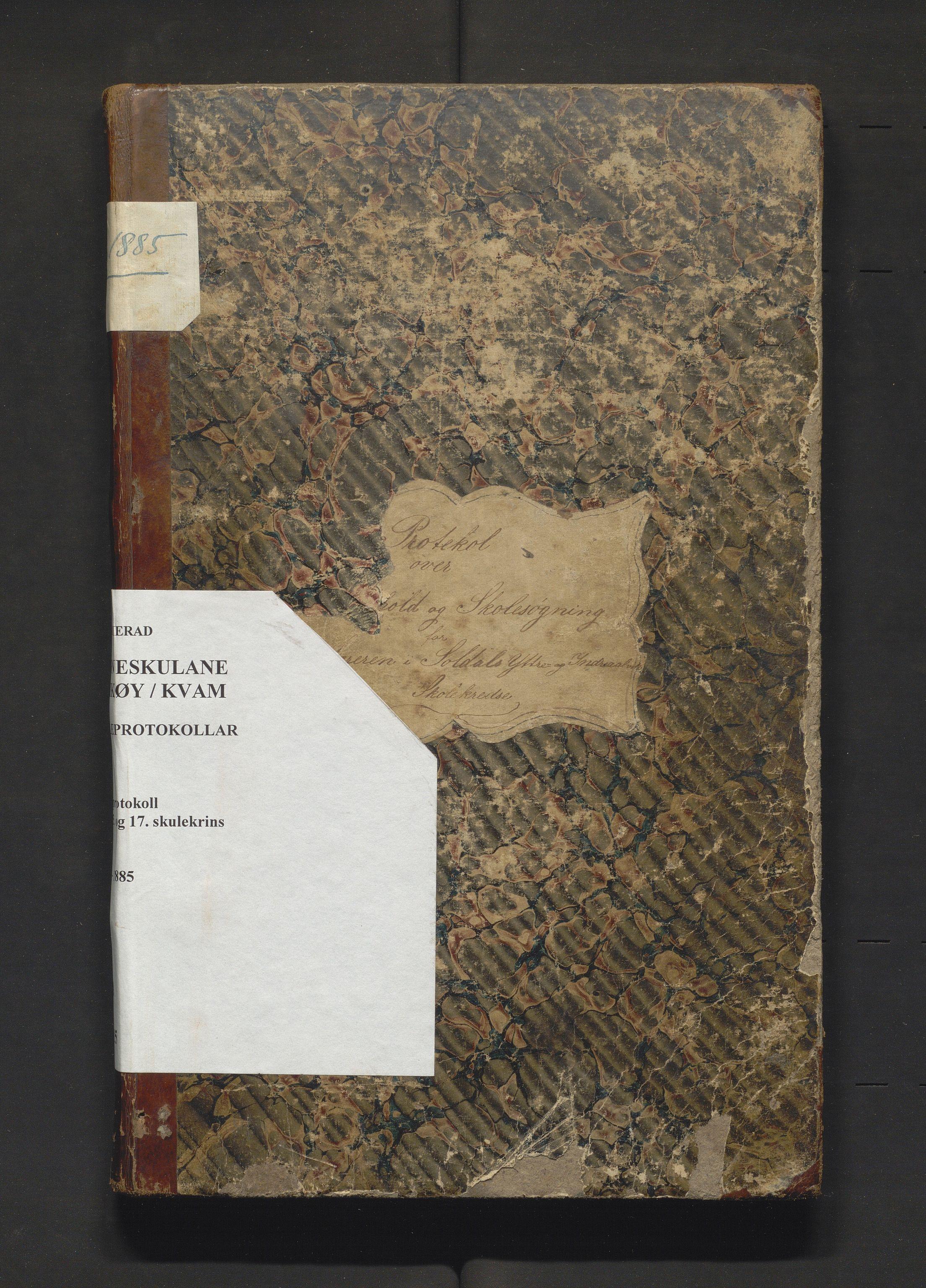 IKAH, Kvam herad. Barneskulane, F/Fa/L0015: Skuleprotokoll for læraren i 7. skuledistrikt i Vikøy prestegjeld, 14., 15. og 17 skulekrins m/ inventarliste, 1861-1885