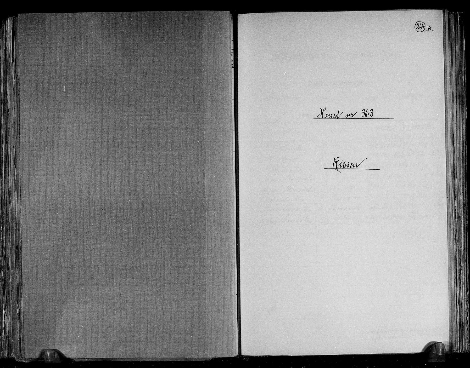 RA, Folketelling 1891 for 1624 Rissa herred, 1891, s. 1