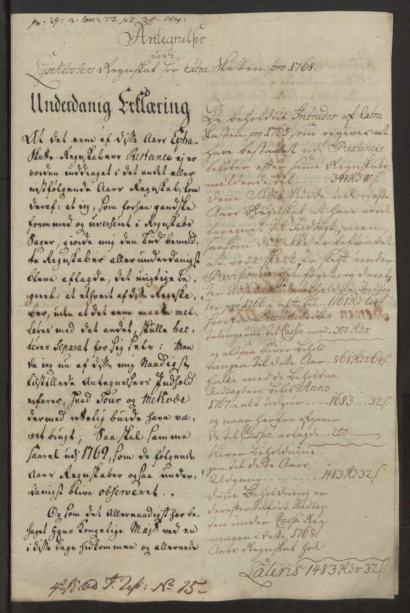 RA, Rentekammeret inntil 1814, Reviderte regnskaper, Fogderegnskap, R50/L3180: Ekstraskatten Lyse kloster, 1762-1783, s. 207