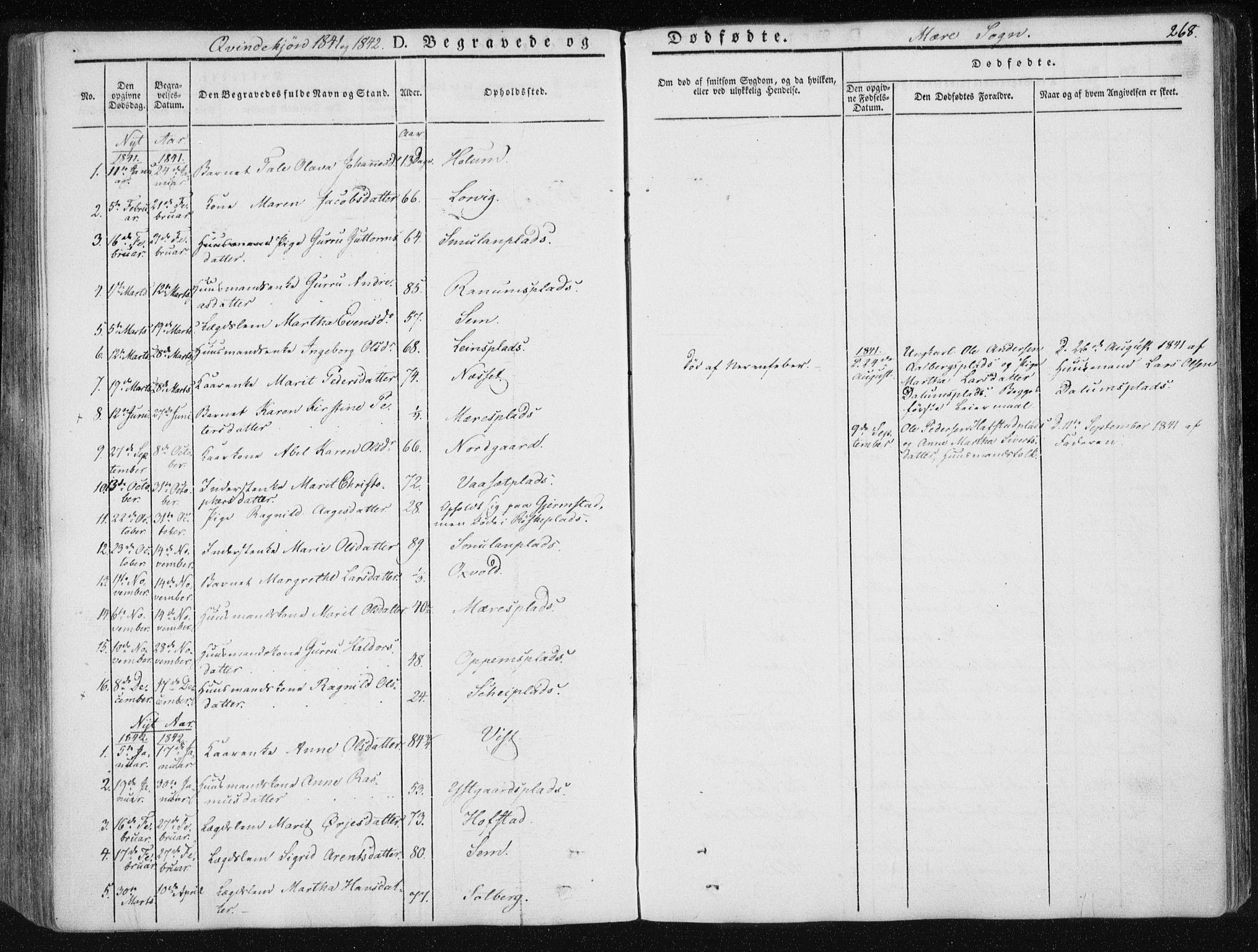 SAT, Ministerialprotokoller, klokkerbøker og fødselsregistre - Nord-Trøndelag, 735/L0339: Ministerialbok nr. 735A06 /1, 1836-1848, s. 268