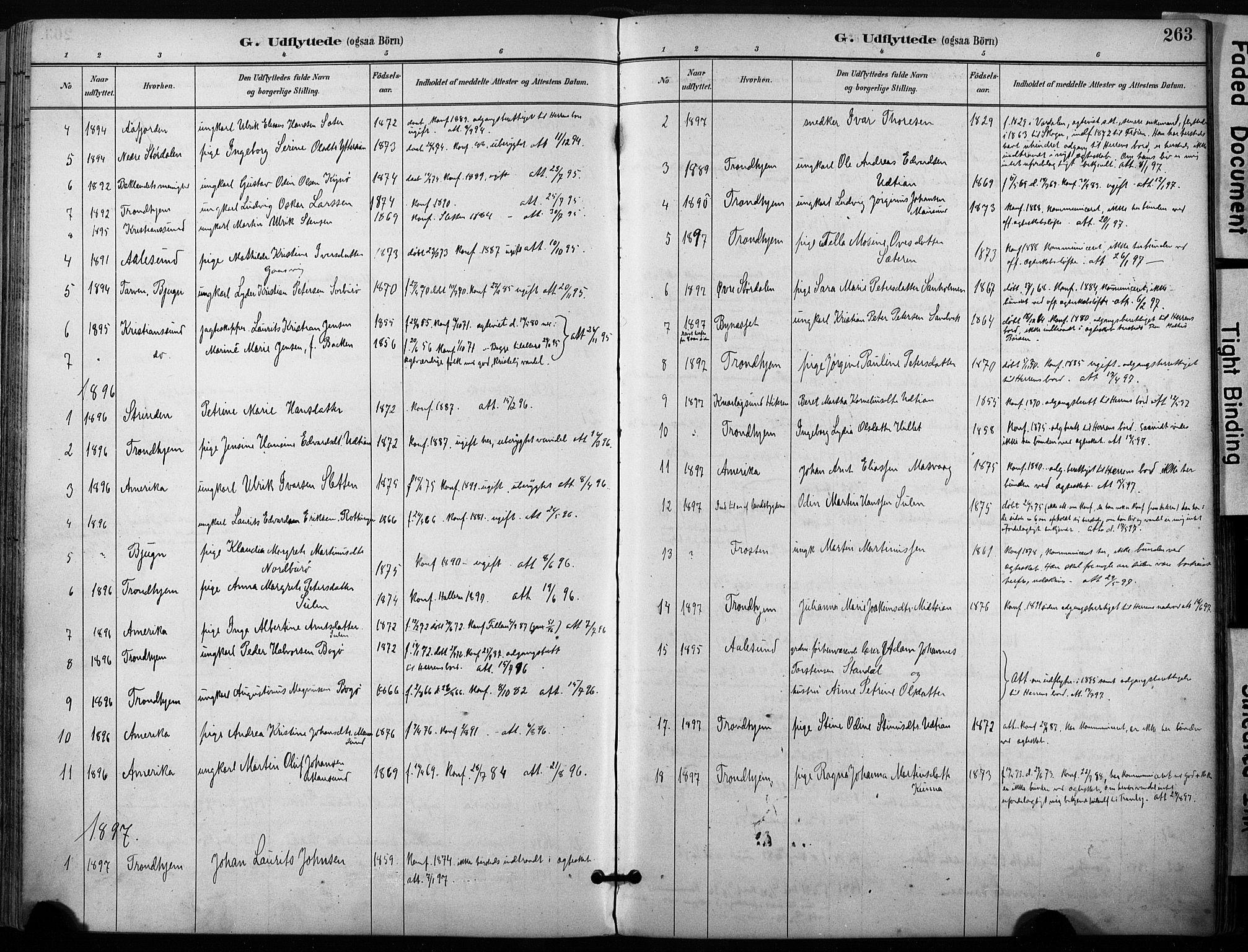 SAT, Ministerialprotokoller, klokkerbøker og fødselsregistre - Sør-Trøndelag, 640/L0579: Ministerialbok nr. 640A04, 1889-1902, s. 263