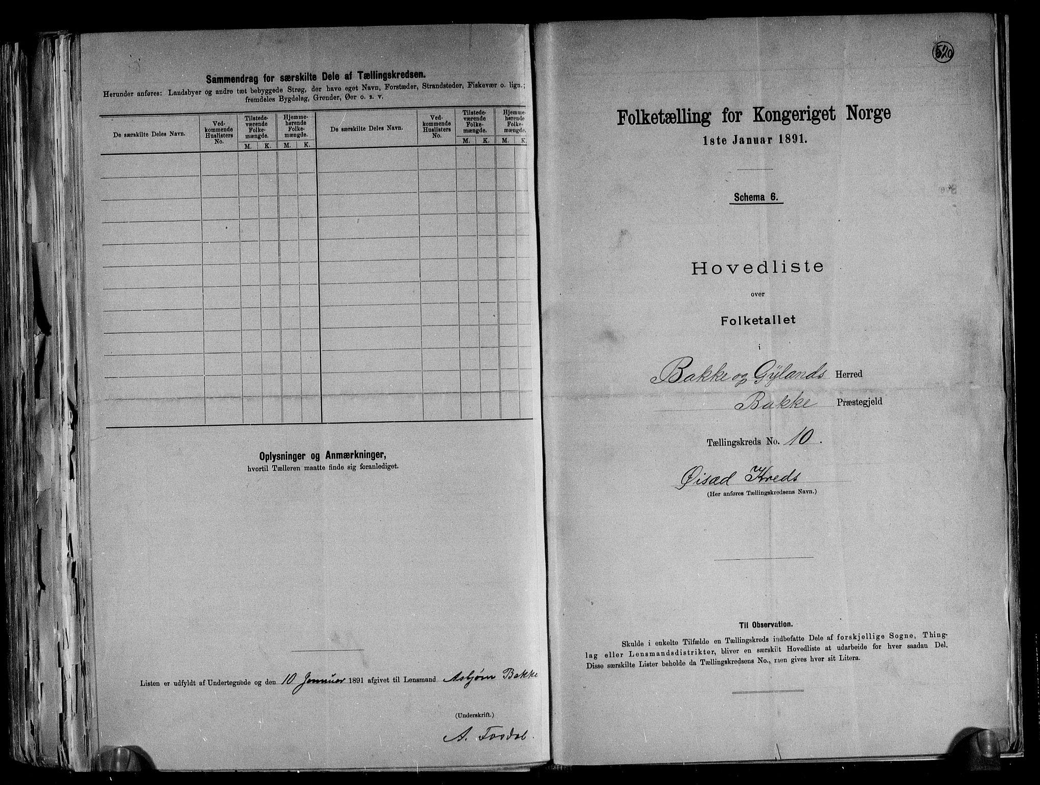 RA, Folketelling 1891 for 1045 Bakke herred, 1891, s. 23