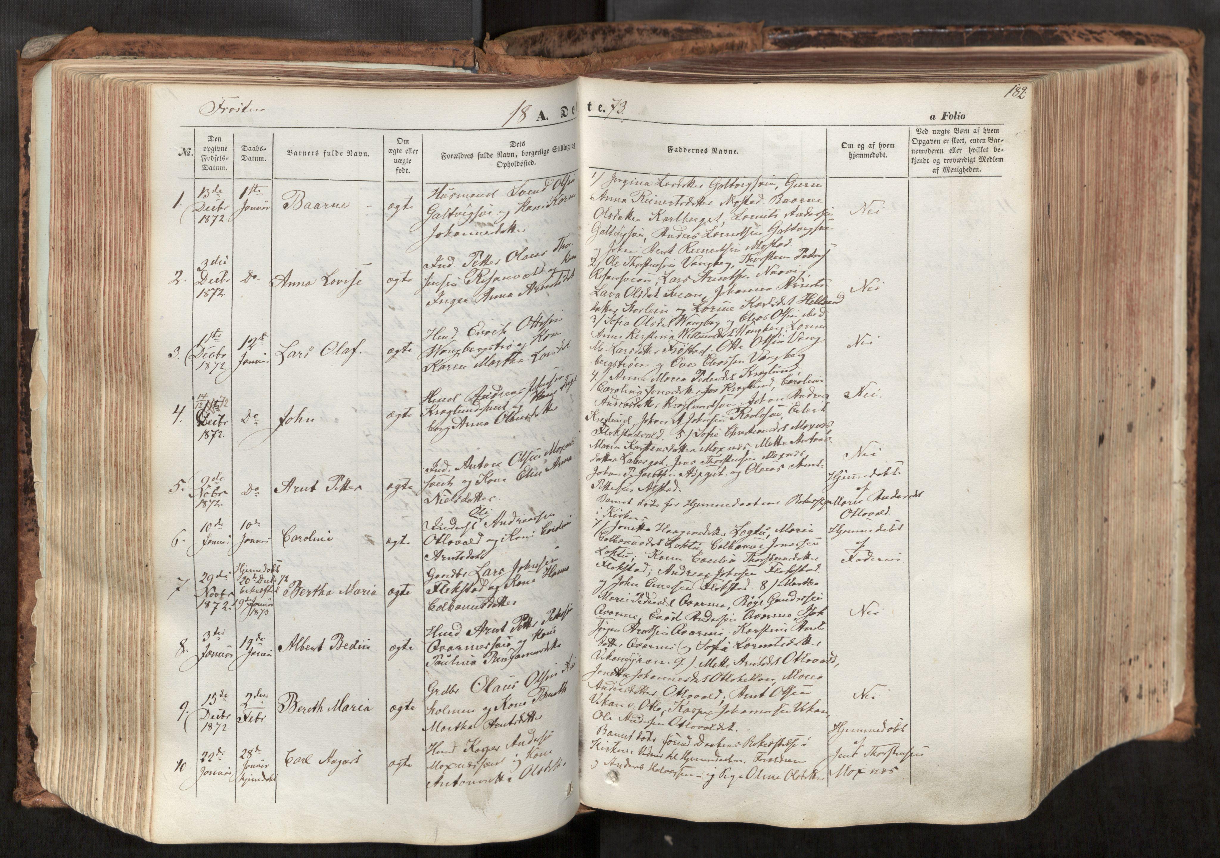 SAT, Ministerialprotokoller, klokkerbøker og fødselsregistre - Nord-Trøndelag, 713/L0116: Ministerialbok nr. 713A07, 1850-1877, s. 182