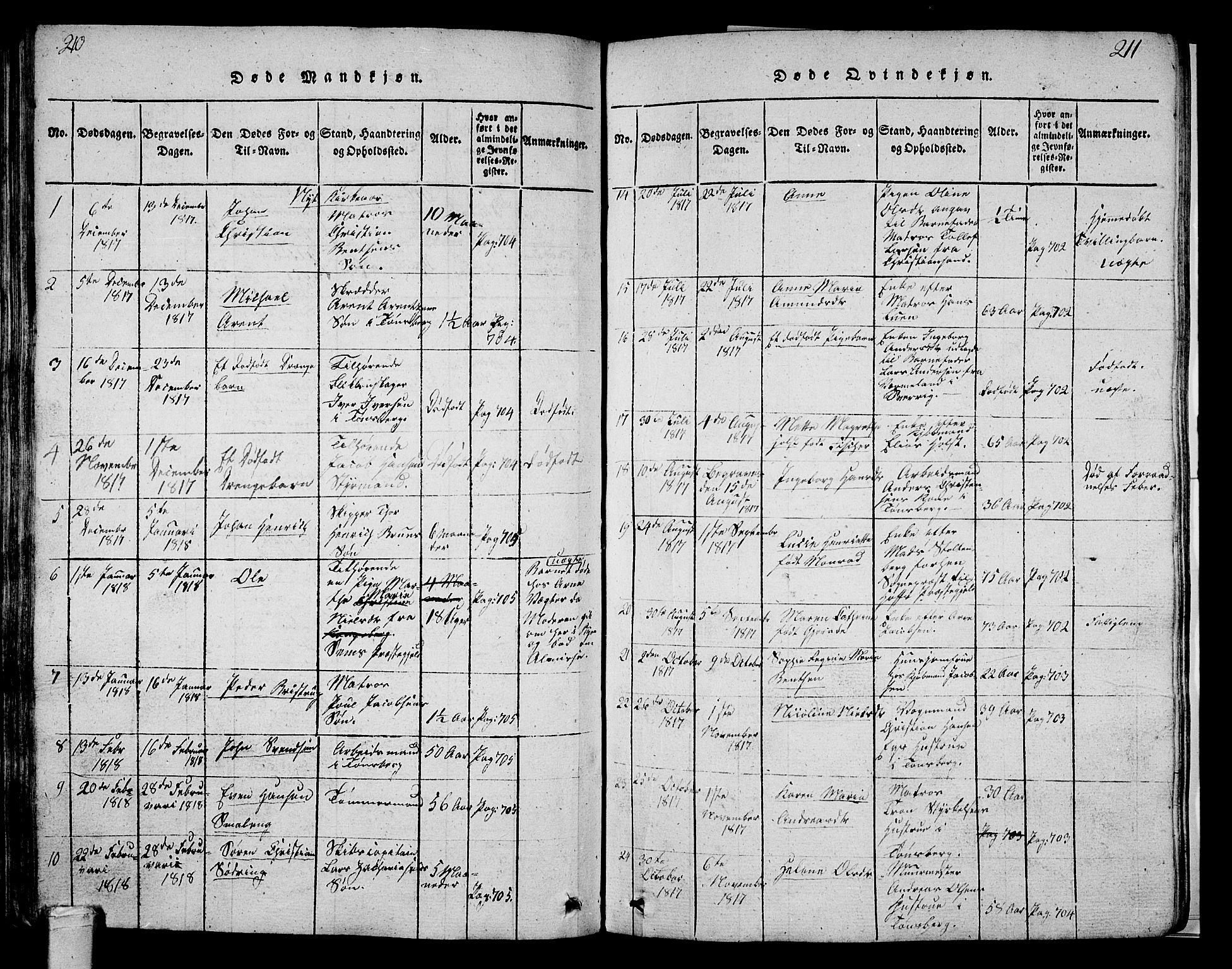 SAKO, Tønsberg kirkebøker, G/Ga/L0001: Klokkerbok nr. 1, 1813-1826, s. 210-211