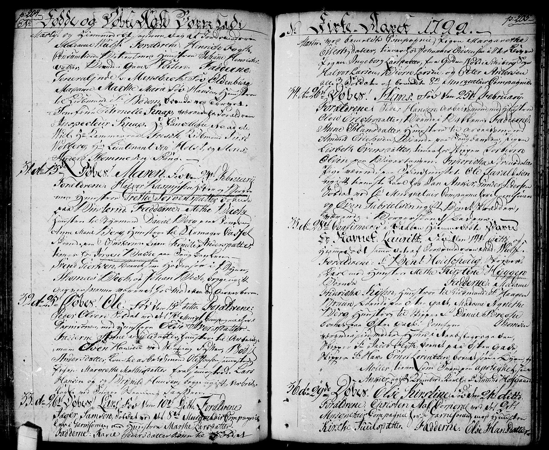 SAO, Halden prestekontor Kirkebøker, F/Fa/L0002: Ministerialbok nr. I 2, 1792-1812, s. 204-205