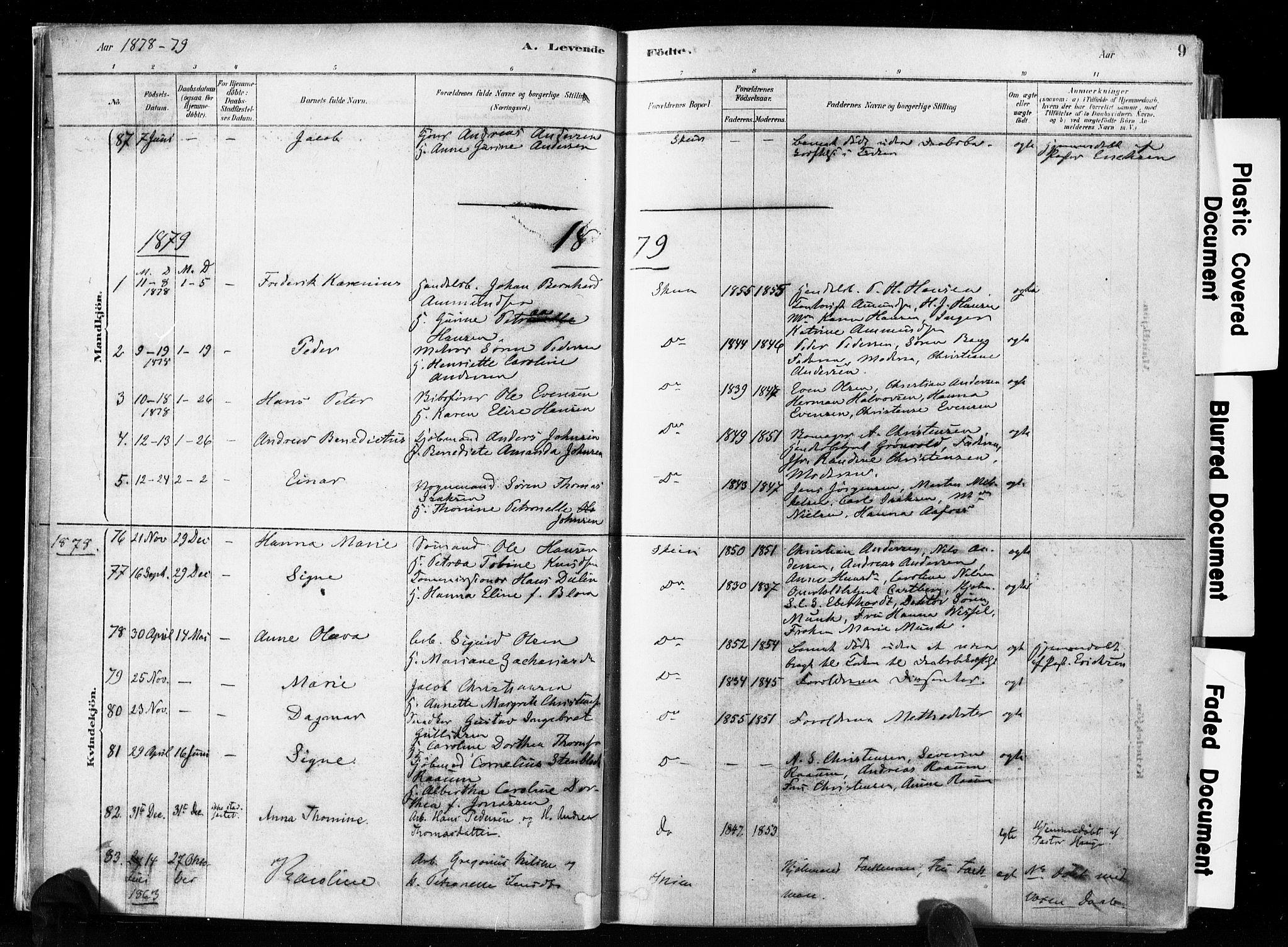SAKO, Skien kirkebøker, F/Fa/L0009: Ministerialbok nr. 9, 1878-1890, s. 9