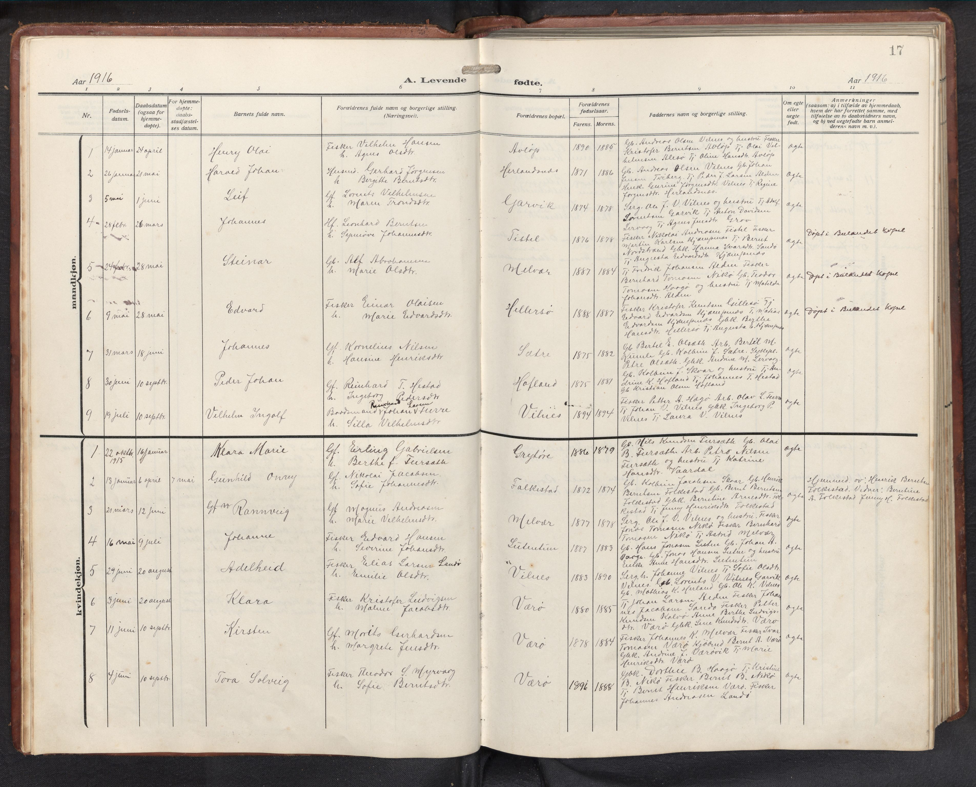 SAB, Askvoll sokneprestembete, H/Hab/Habb/L0002: Klokkerbok nr. B 2, 1910-1947, s. 16b-17a