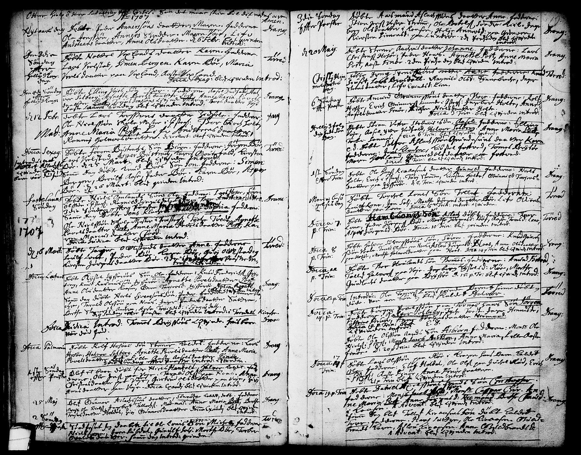 SAKO, Drangedal kirkebøker, F/Fa/L0001: Ministerialbok nr. 1, 1697-1767, s. 19