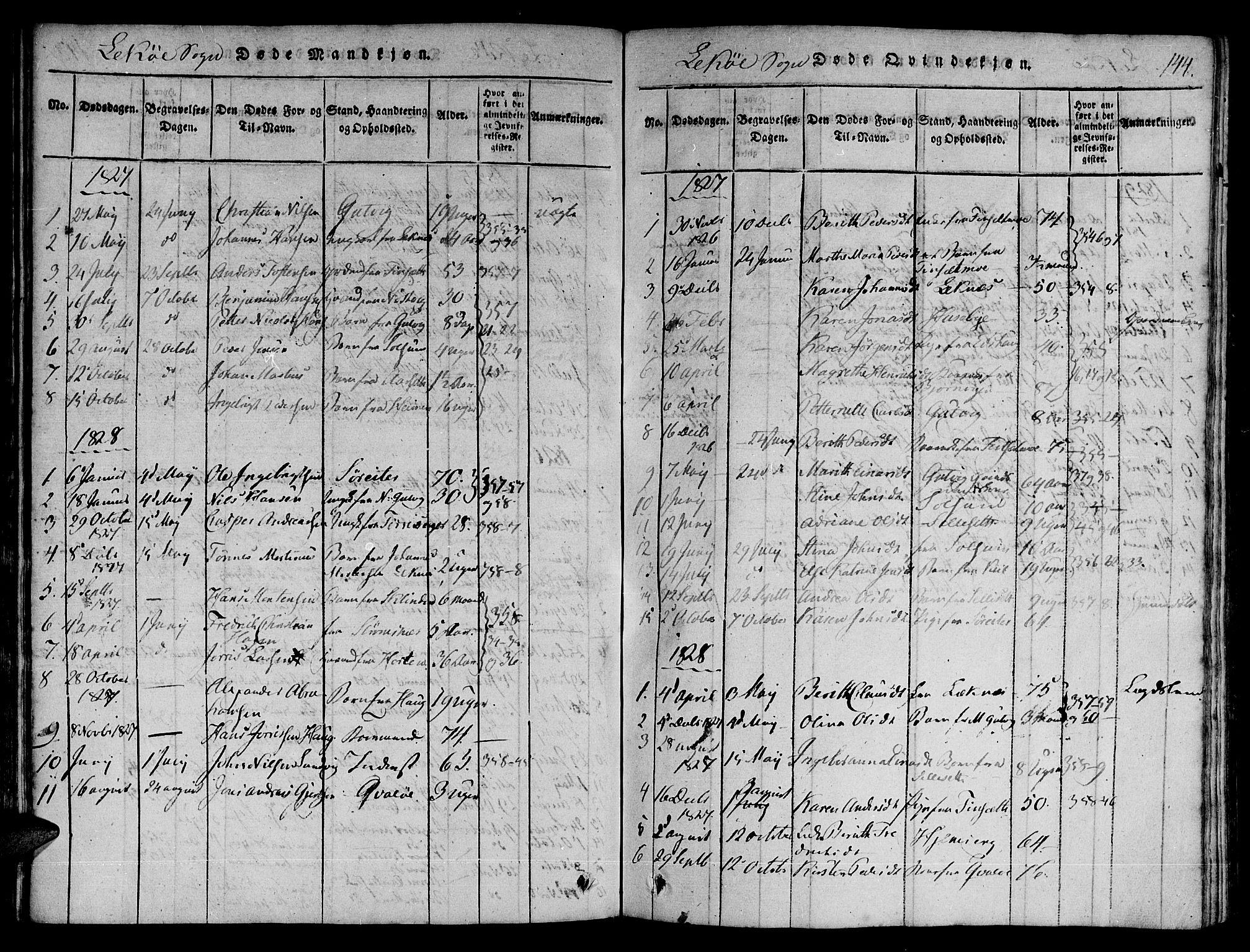 SAT, Ministerialprotokoller, klokkerbøker og fødselsregistre - Nord-Trøndelag, 780/L0636: Ministerialbok nr. 780A03 /2, 1815-1829, s. 144