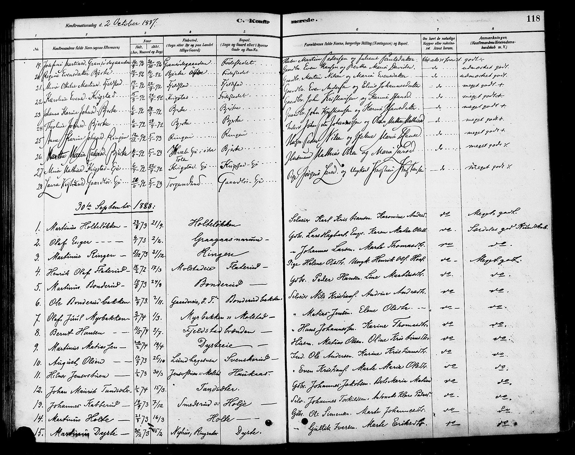 SAH, Vestre Toten prestekontor, Ministerialbok nr. 10, 1878-1894, s. 118