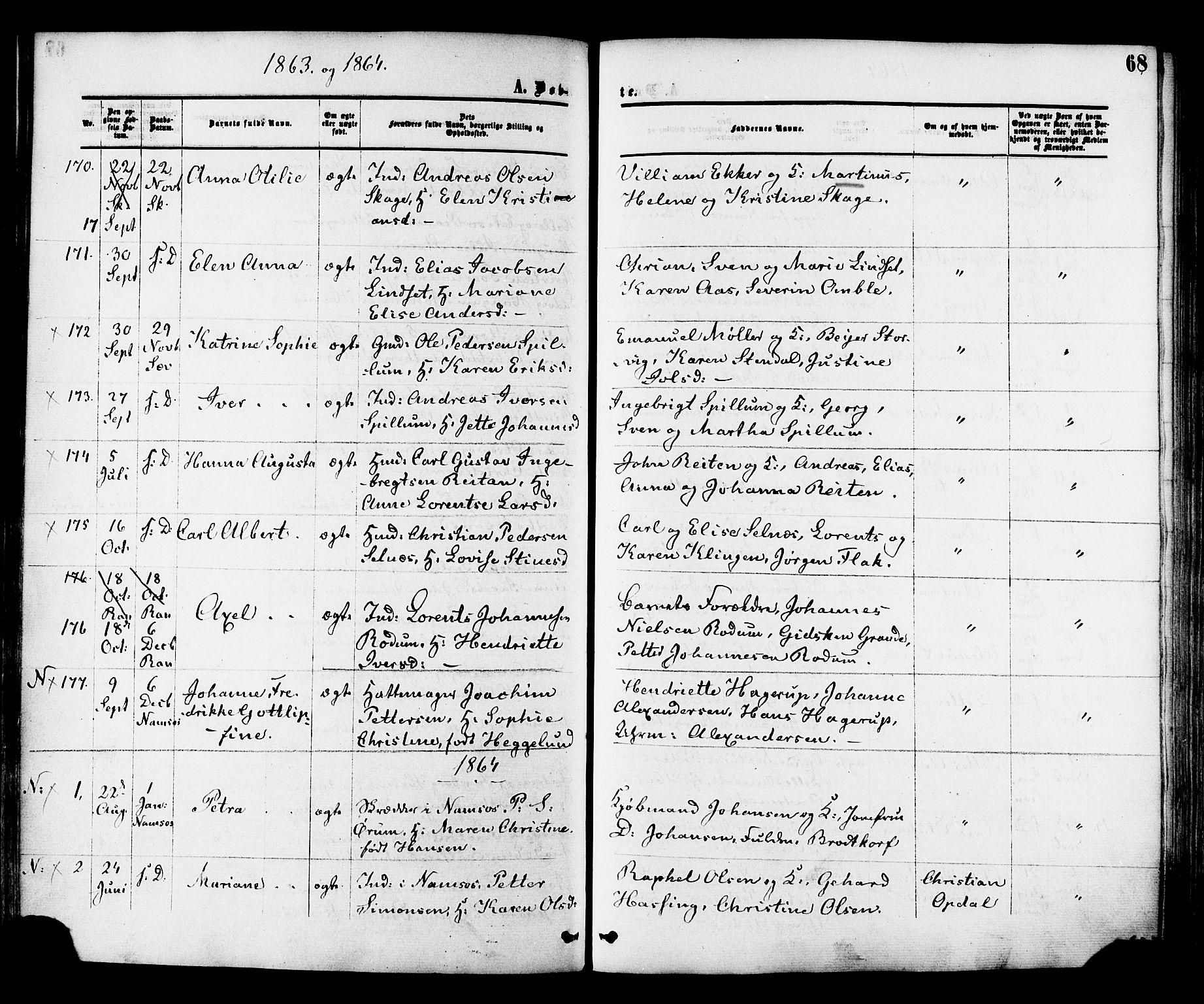 SAT, Ministerialprotokoller, klokkerbøker og fødselsregistre - Nord-Trøndelag, 764/L0553: Ministerialbok nr. 764A08, 1858-1880, s. 68