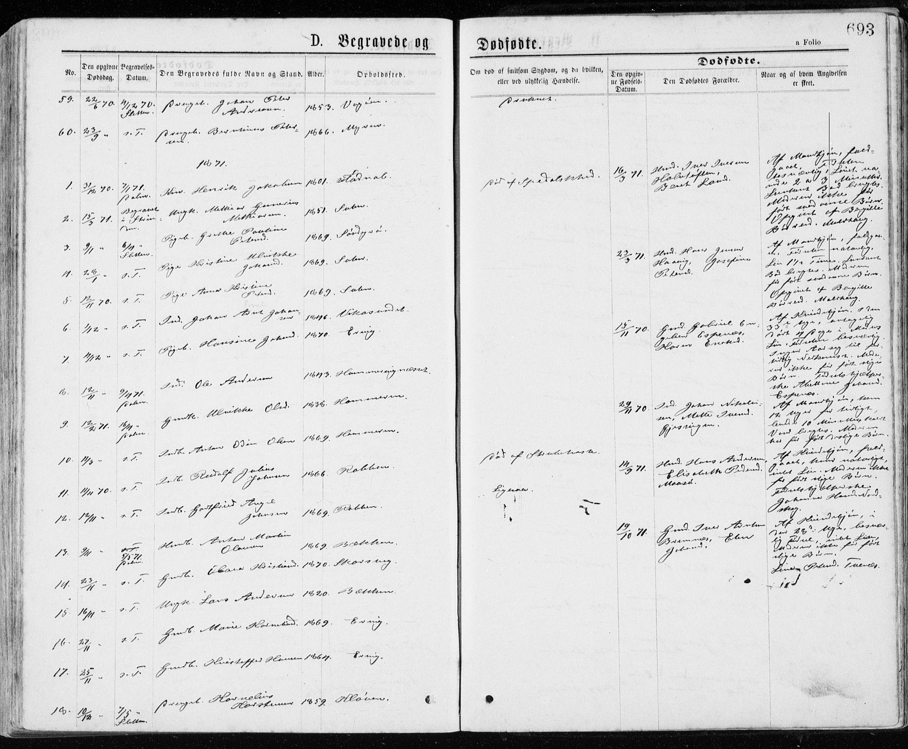 SAT, Ministerialprotokoller, klokkerbøker og fødselsregistre - Sør-Trøndelag, 640/L0576: Ministerialbok nr. 640A01, 1846-1876, s. 693