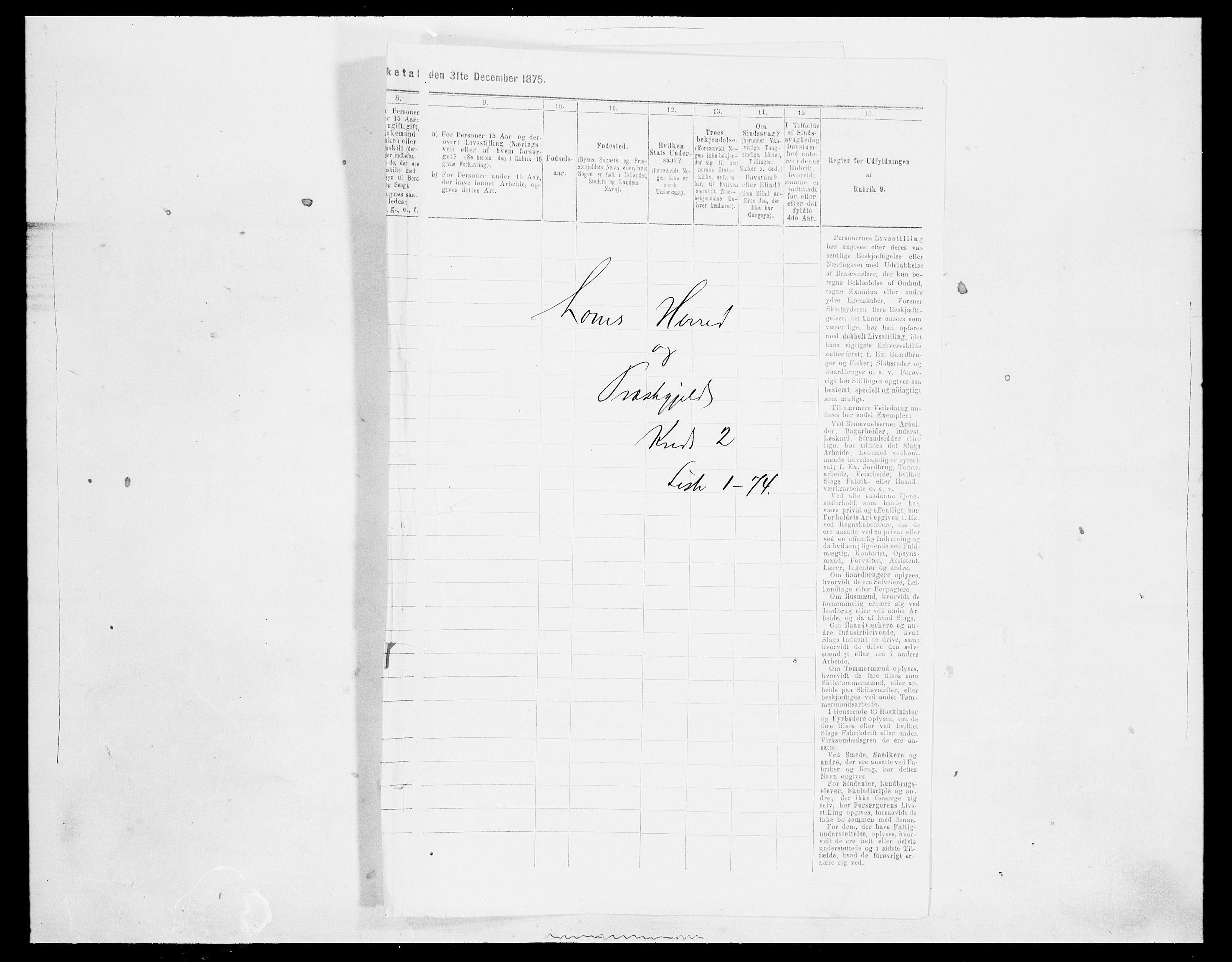 SAH, Folketelling 1875 for 0514P Lom prestegjeld, 1875, s. 257