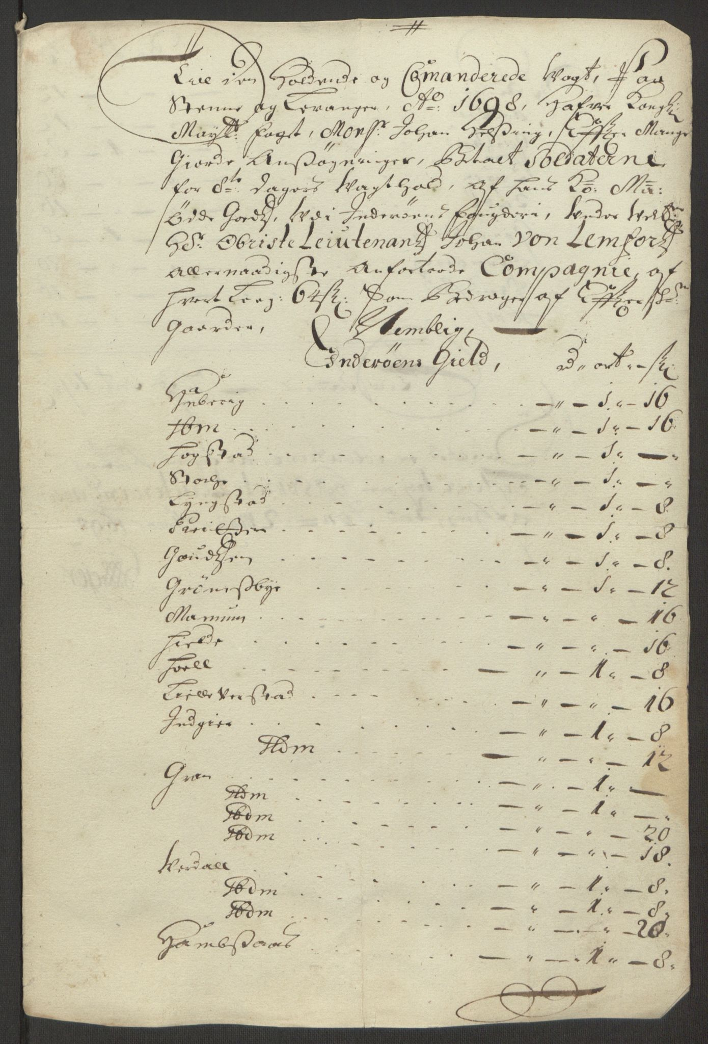 RA, Rentekammeret inntil 1814, Reviderte regnskaper, Fogderegnskap, R63/L4309: Fogderegnskap Inderøy, 1695-1697, s. 561