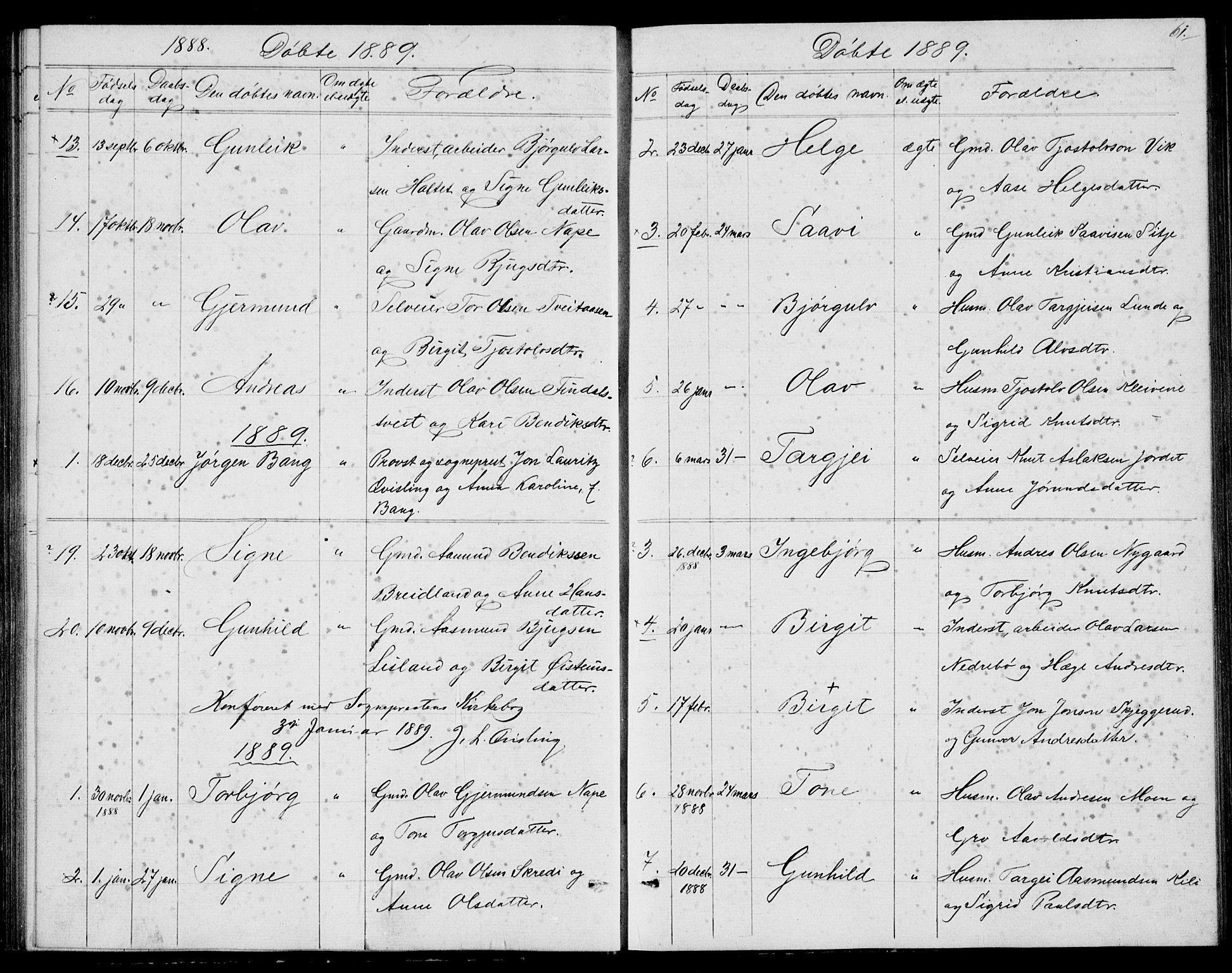 SAKO, Fyresdal kirkebøker, G/Ga/L0004: Klokkerbok nr. I 4, 1864-1892, s. 61