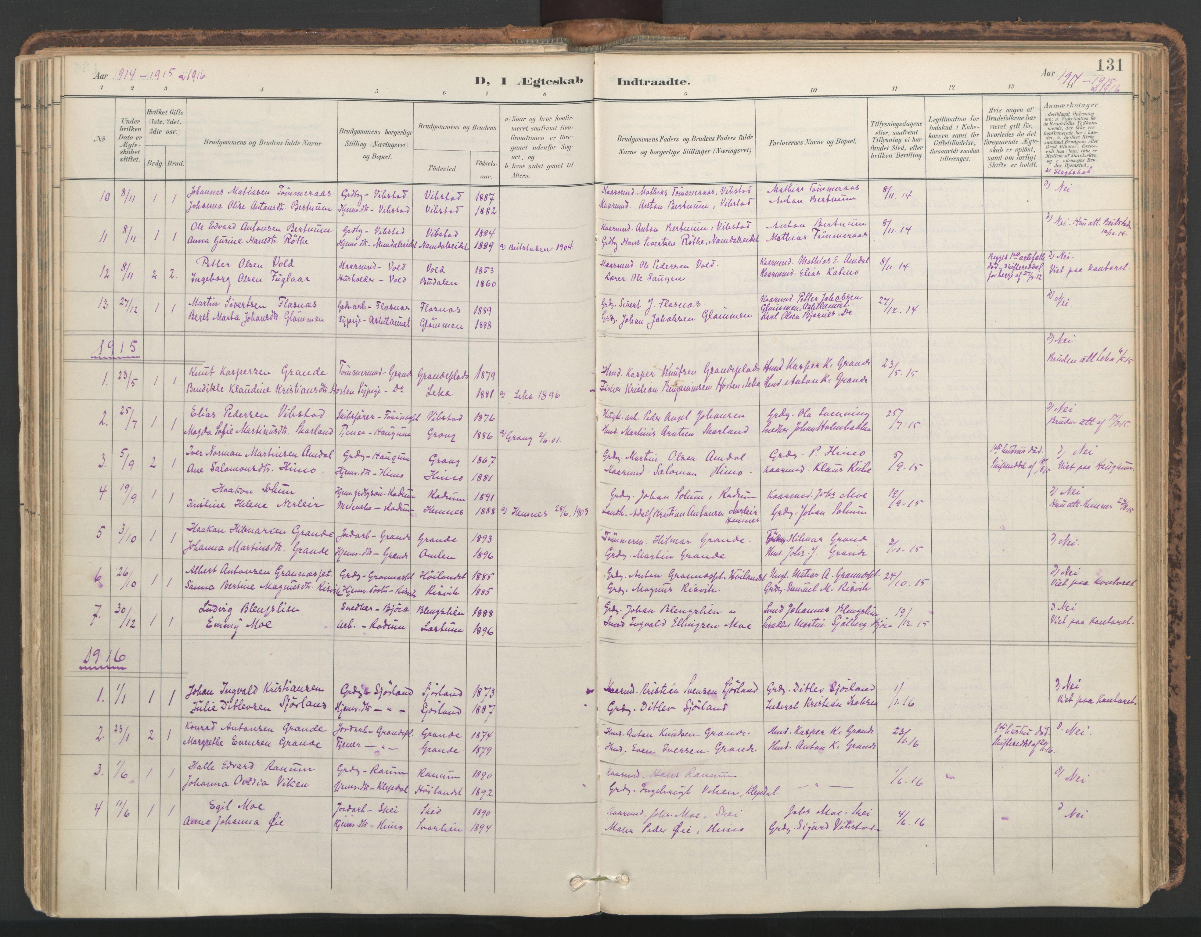 SAT, Ministerialprotokoller, klokkerbøker og fødselsregistre - Nord-Trøndelag, 764/L0556: Ministerialbok nr. 764A11, 1897-1924, s. 131
