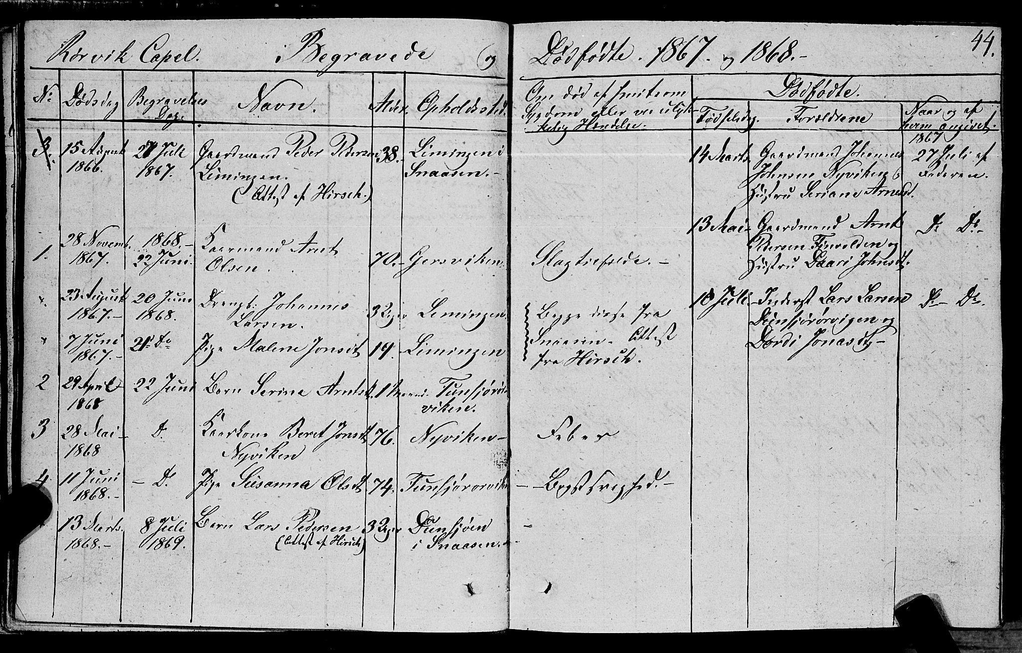 SAT, Ministerialprotokoller, klokkerbøker og fødselsregistre - Nord-Trøndelag, 762/L0538: Ministerialbok nr. 762A02 /1, 1833-1879, s. 44